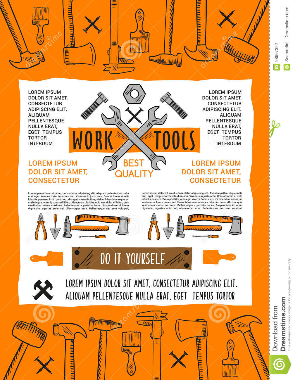 Vector poster do it yourself home repair work tool