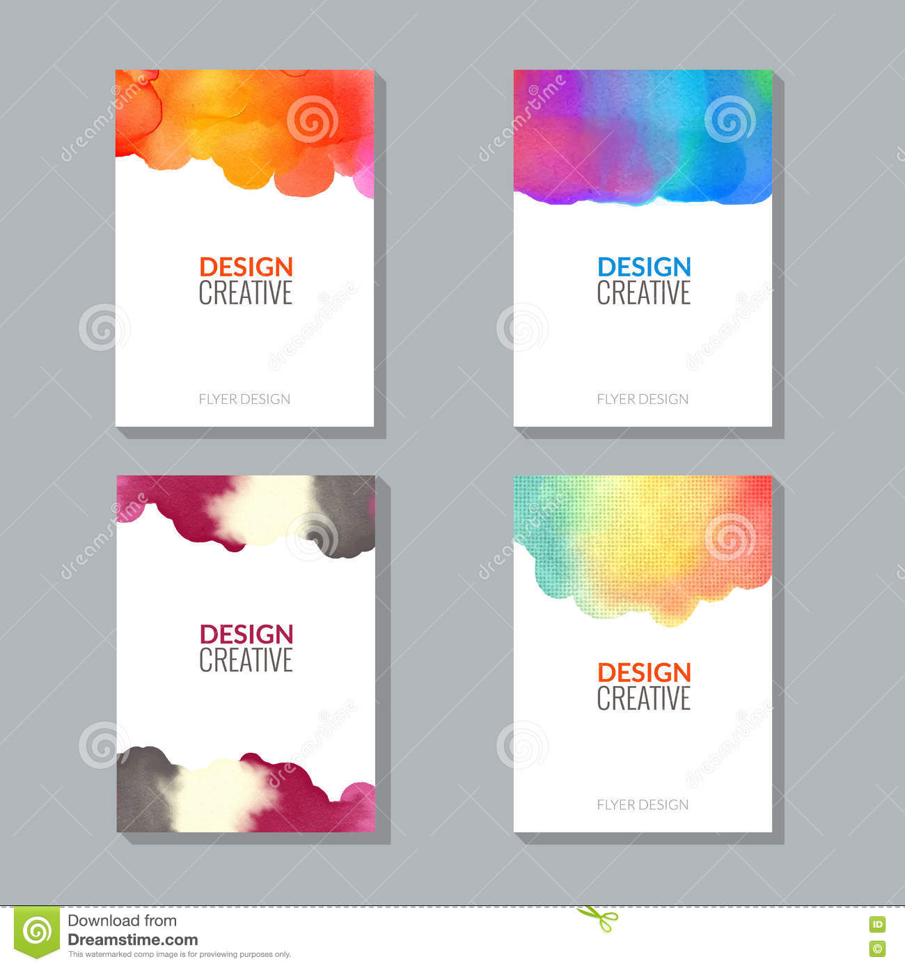 vector poster flyer templates with watercolor paint splash stock