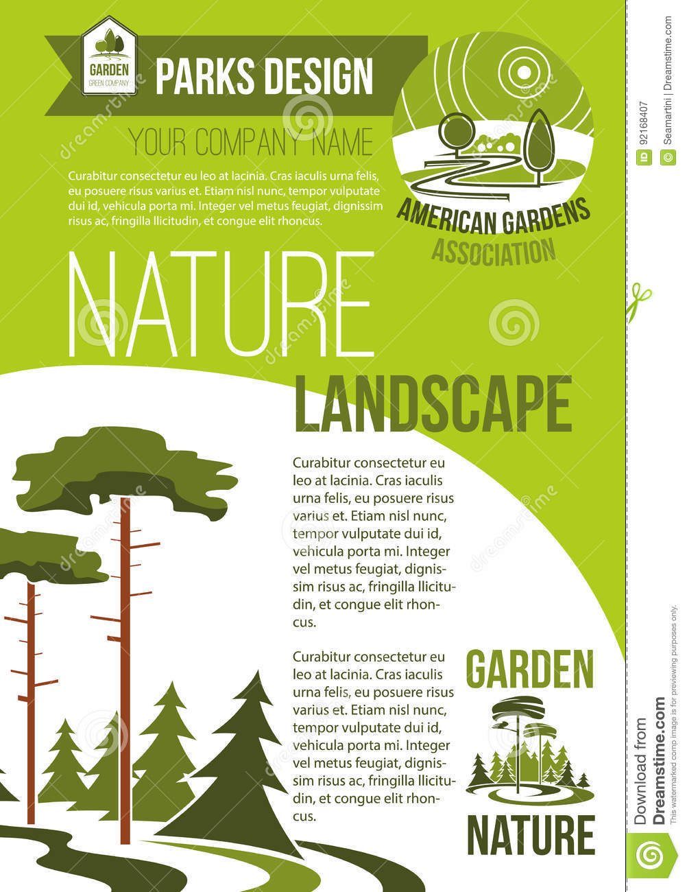 Vector poster of green nature landscaping company stock for Landscape design group