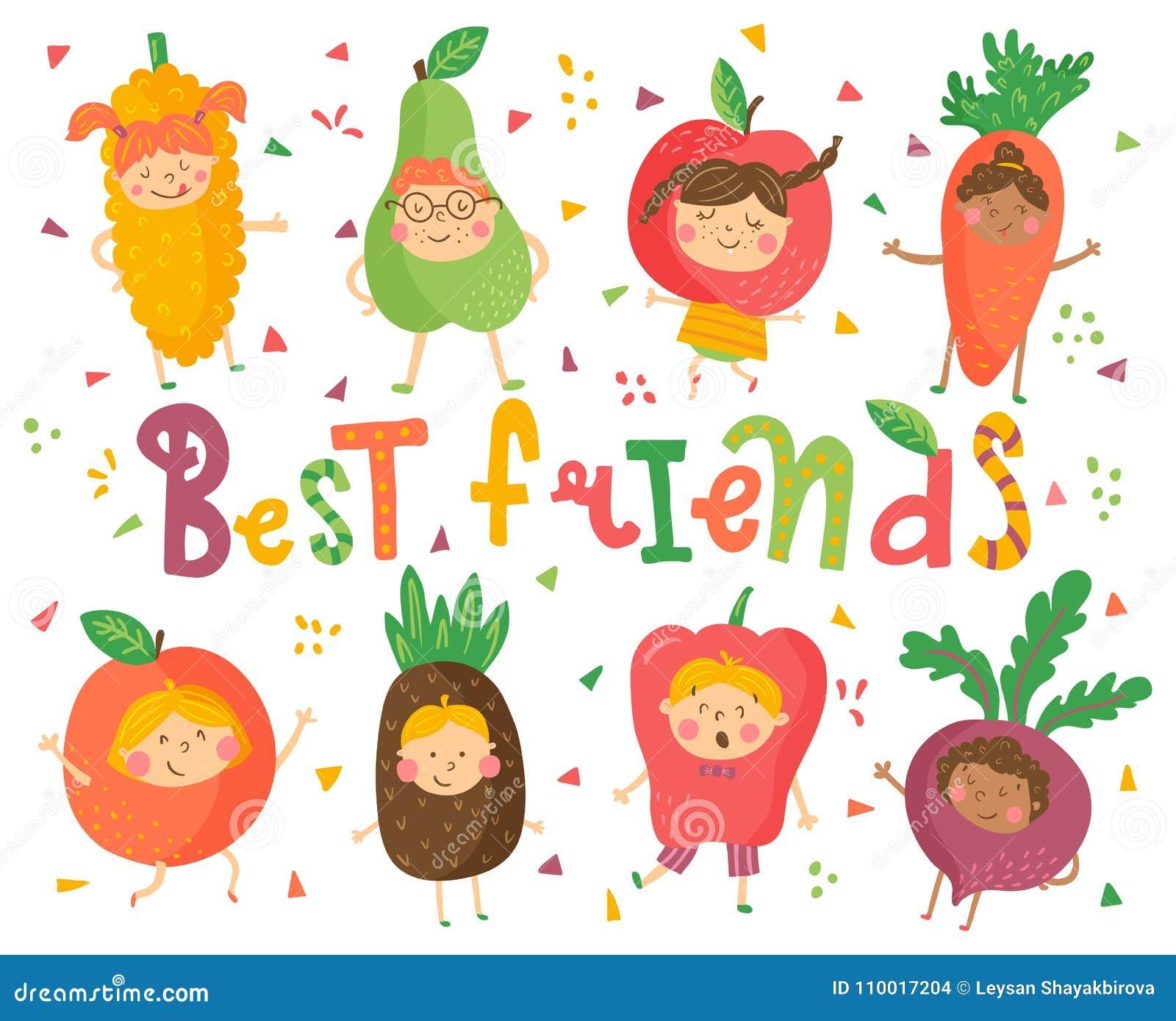 Download Best Fruit Friends Stock Vector Illustration Of Kids