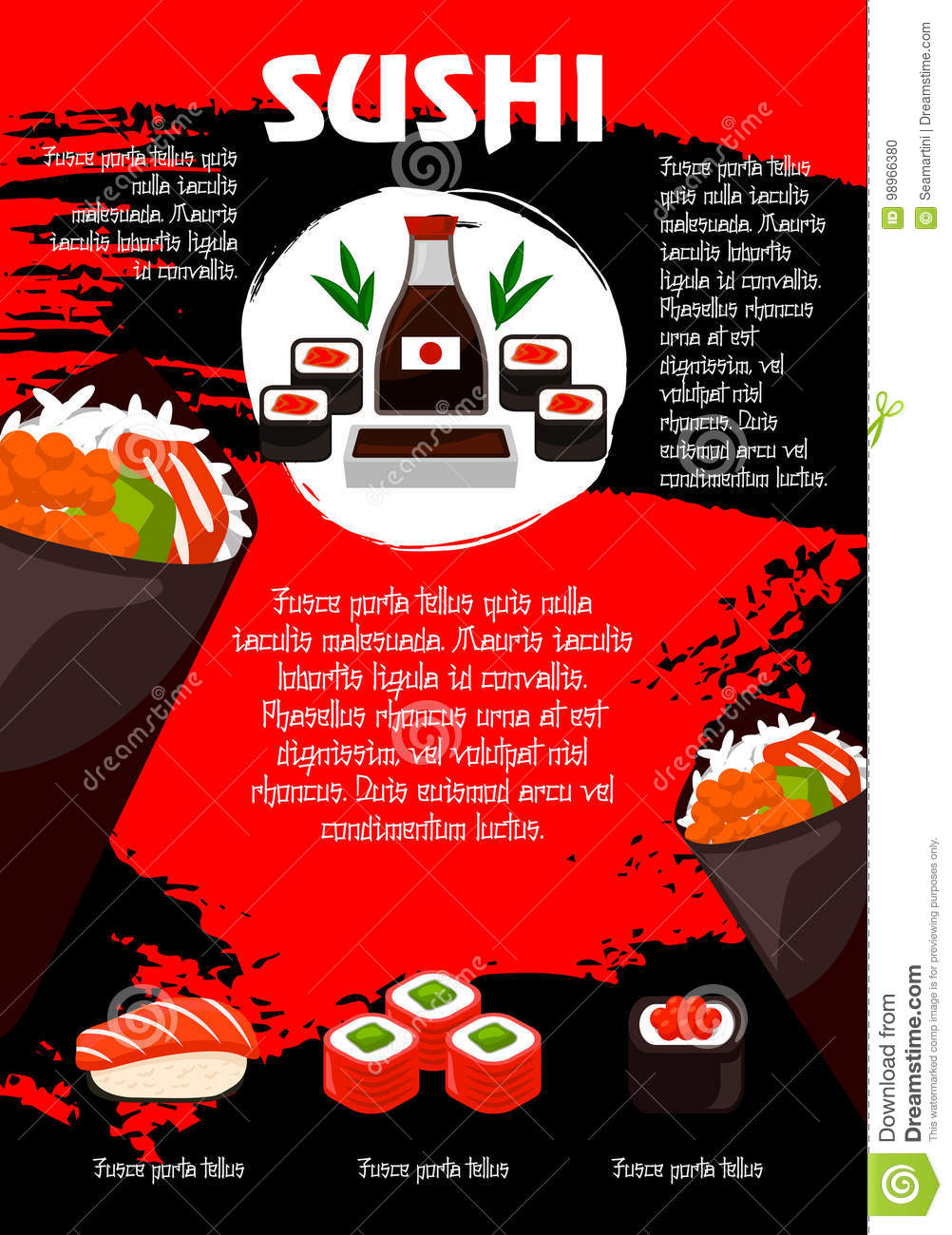 vector poster japanese restaurant or sushi menu stock vector