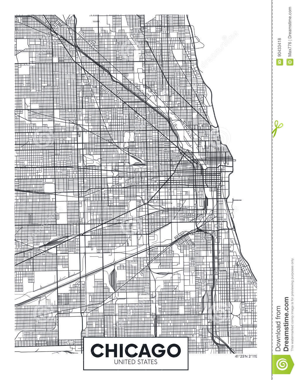 Vector Poster Map City Chicago Stock Vector - Illustration