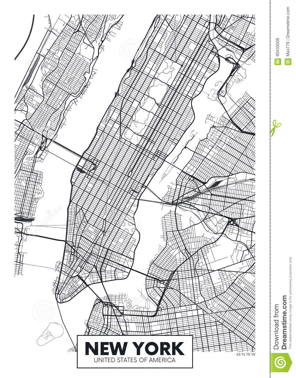 Vector Poster Map City New York Stock Vector Illustration Of