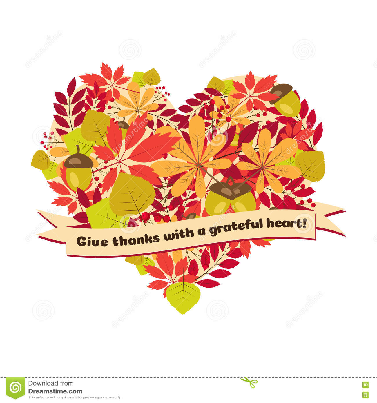 Vector Poster With Quote - Give Thanks A Grateful Heart. Happy ...