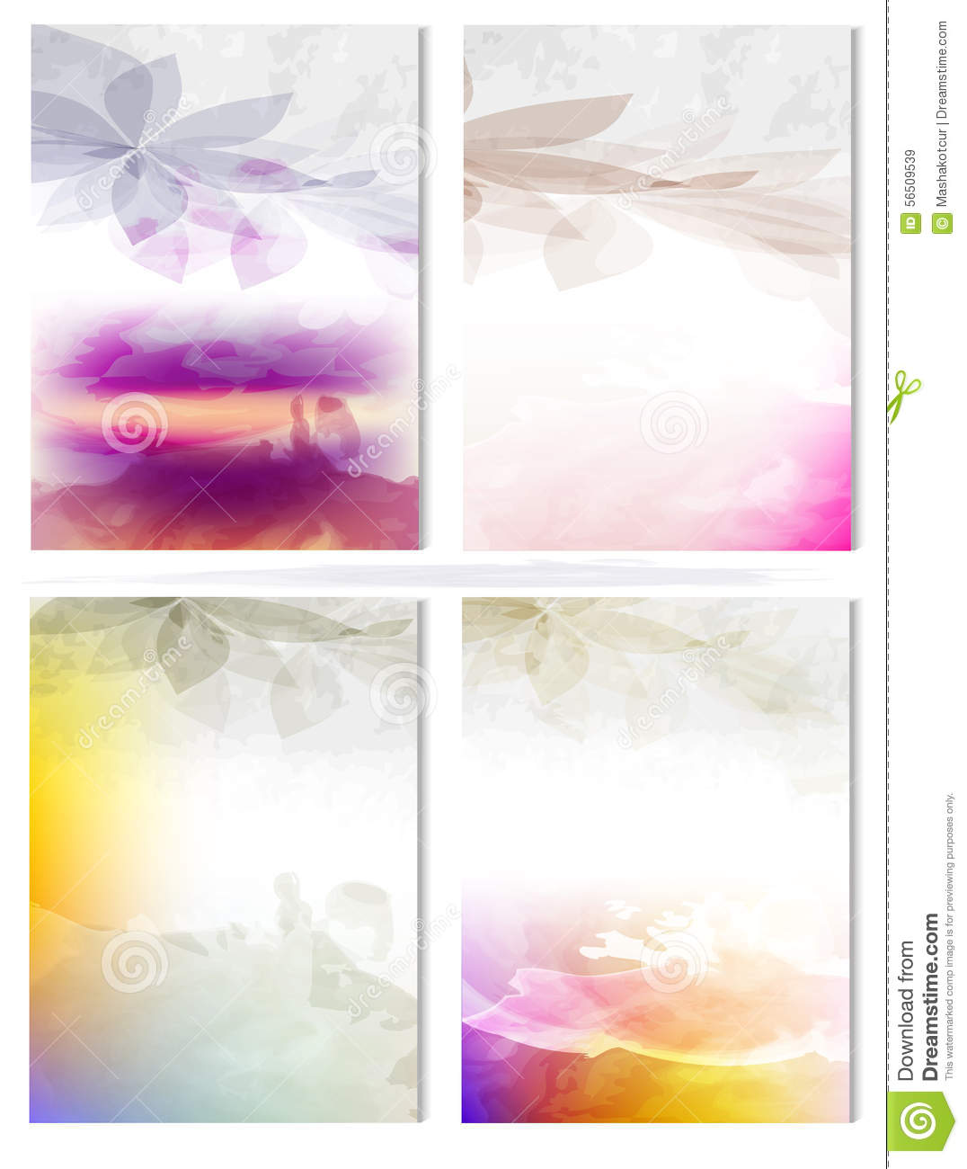 Vector poster templates with watercolor paint splash stock for Watercolor painting templates free