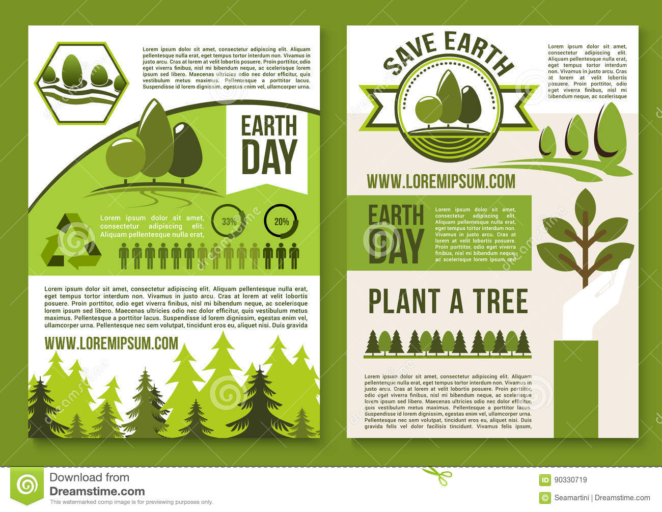 environmental protection plan template - vector posters or brochure for earth day ecology stock vector image 90330719