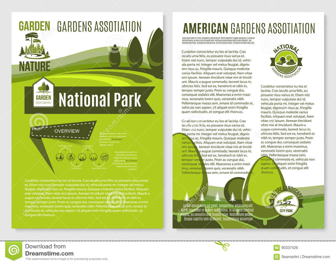 Poster design landscape - Vector Posters For Landscape Gardening Company Royalty Free Stock Image