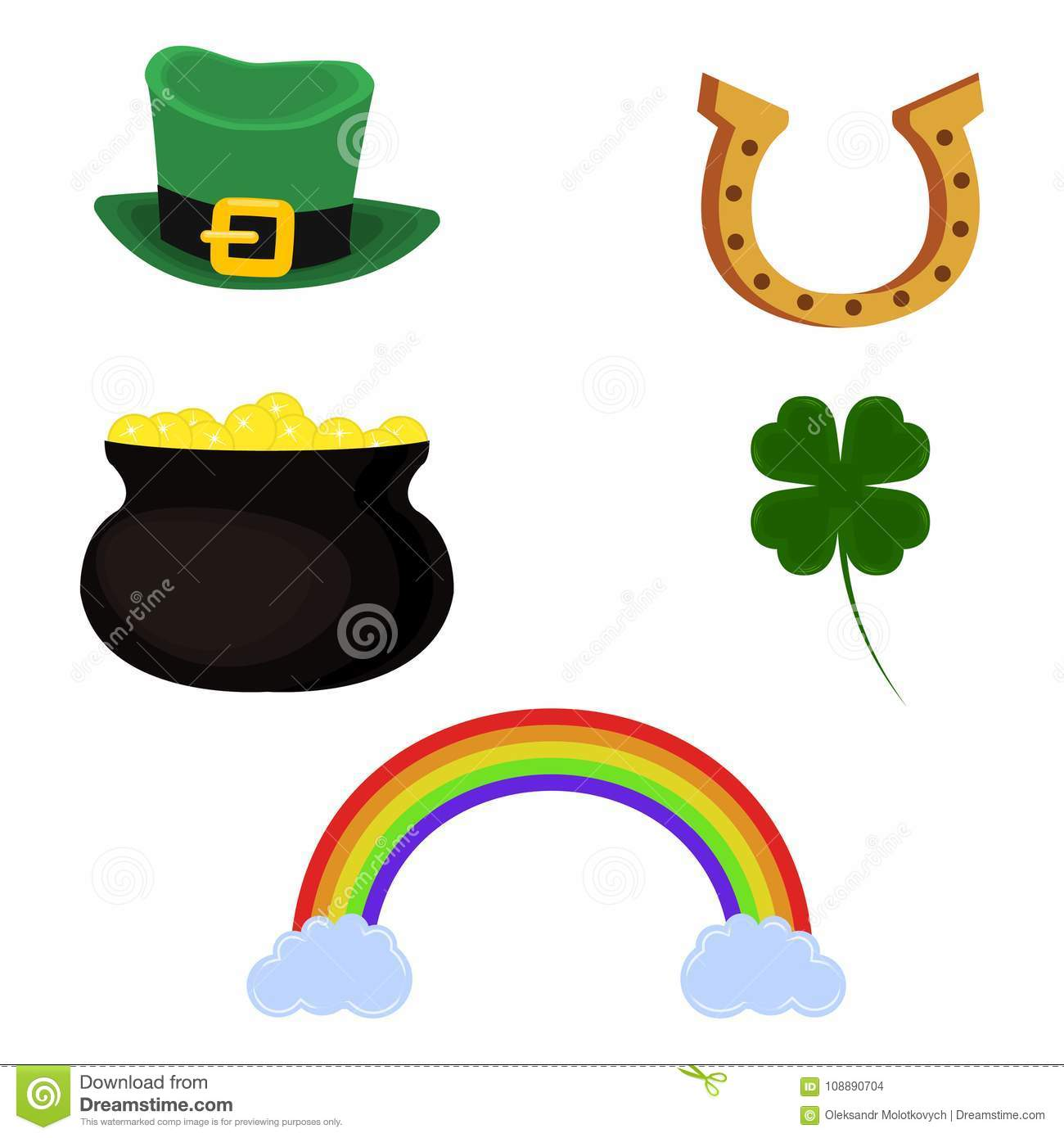 Vector Pot Of Gold Leprechaun Hat Horseshoe Four Leaf Clover And