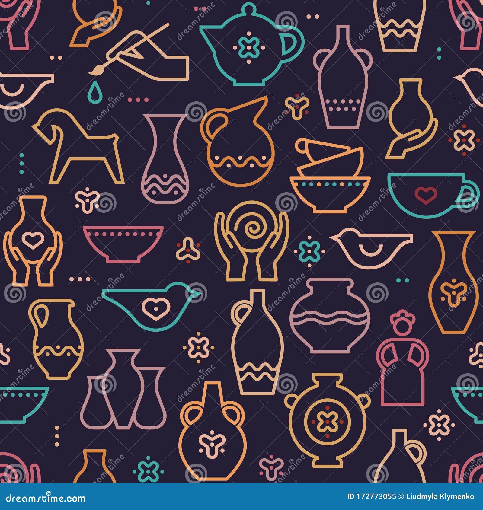 Vector Pottery Seamless Pattern Ceramics Pottery Bowl Stock Vector Illustration Of Decorative Design 172773055