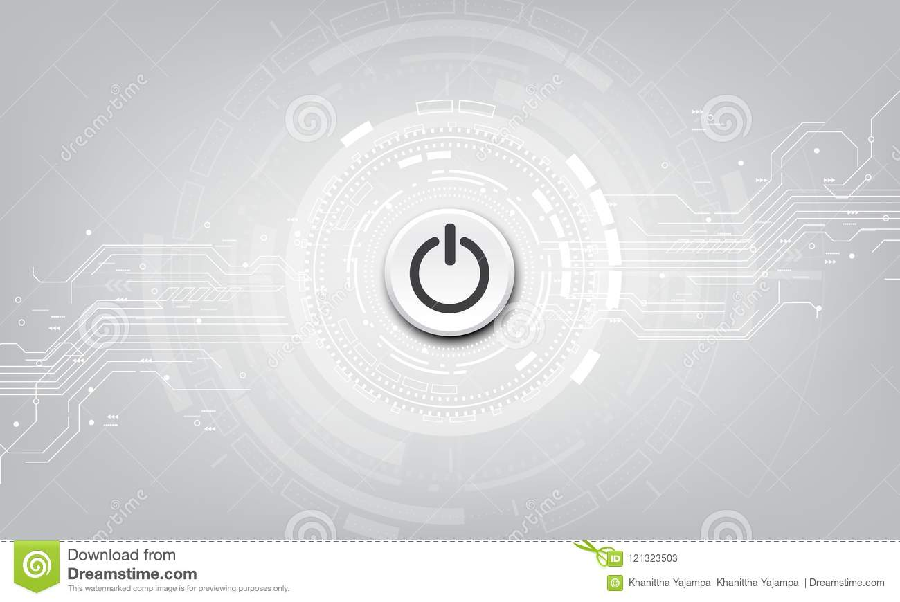 Vector power button on technology background.