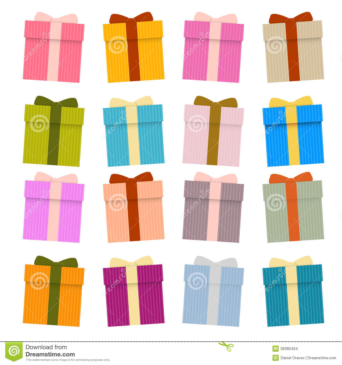 Vector Present Boxes, Gift Boxes Set