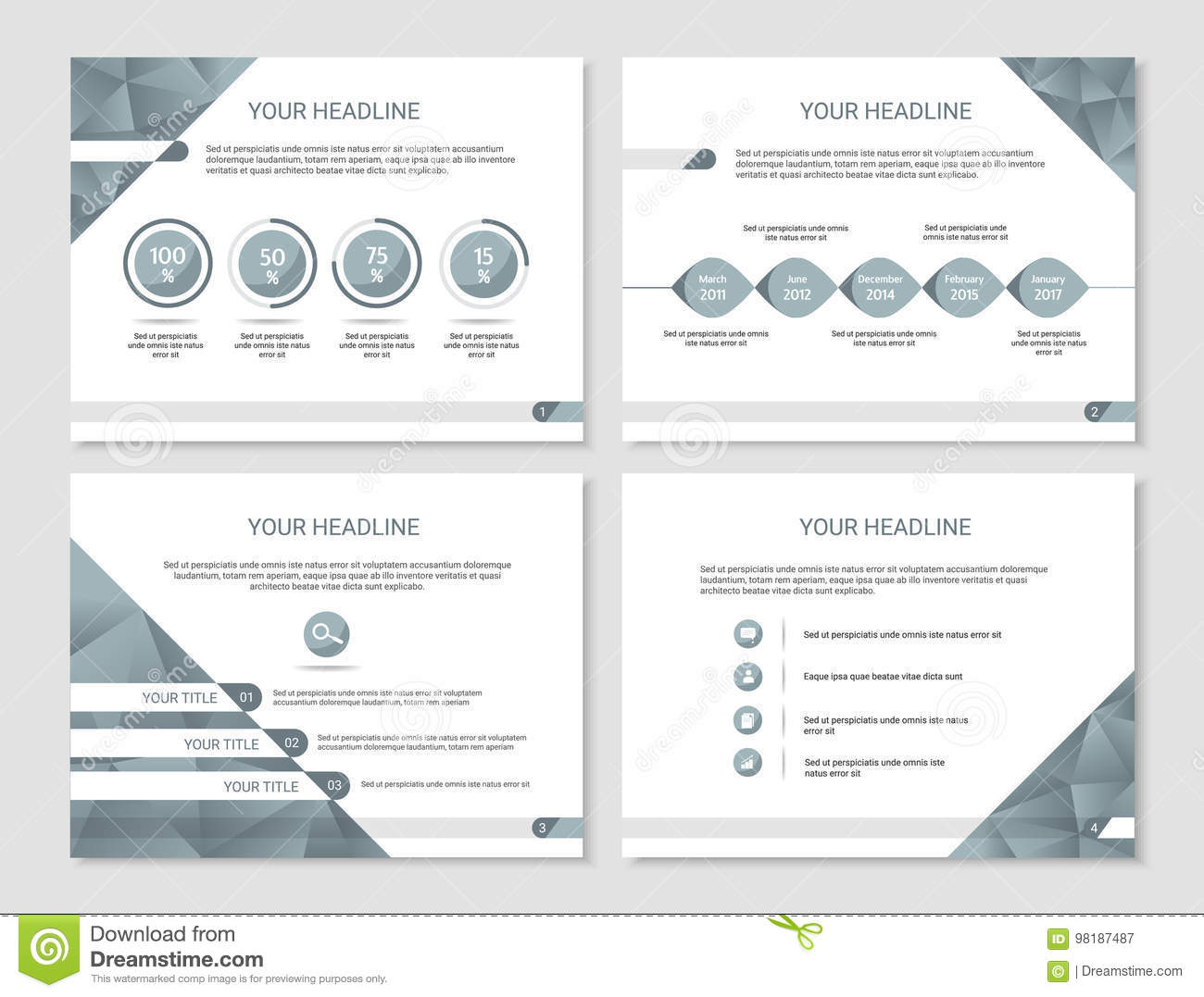 vector presentation or brochure template with timeline graphs stock