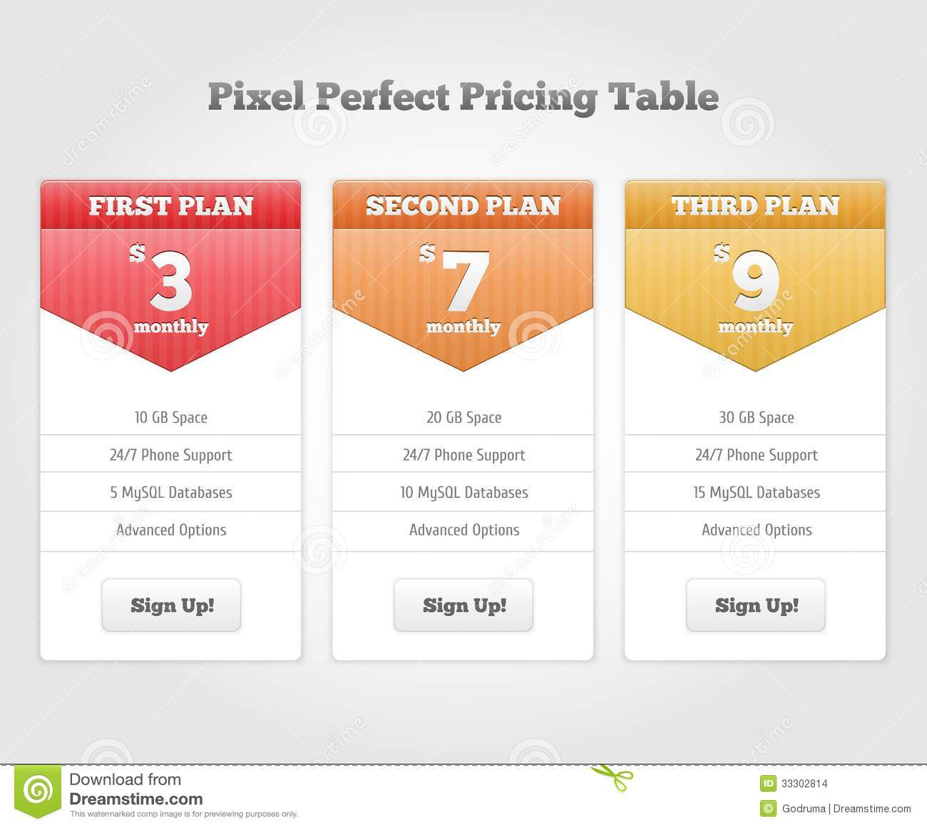 Vector Price Table For Commercial Web Services Stock Images ...