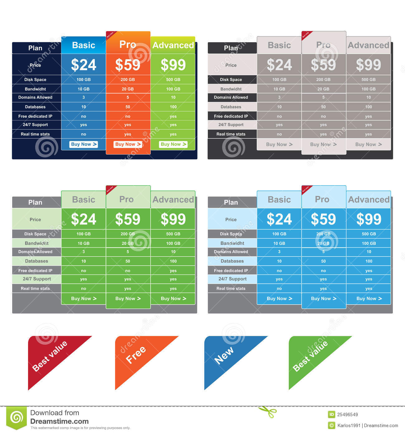 Vector Price Table Templates Royalty Free Stock Images - Image ...