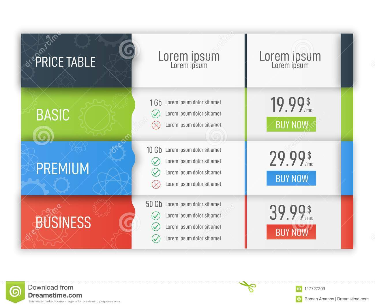 price table for websites and applications business infographic