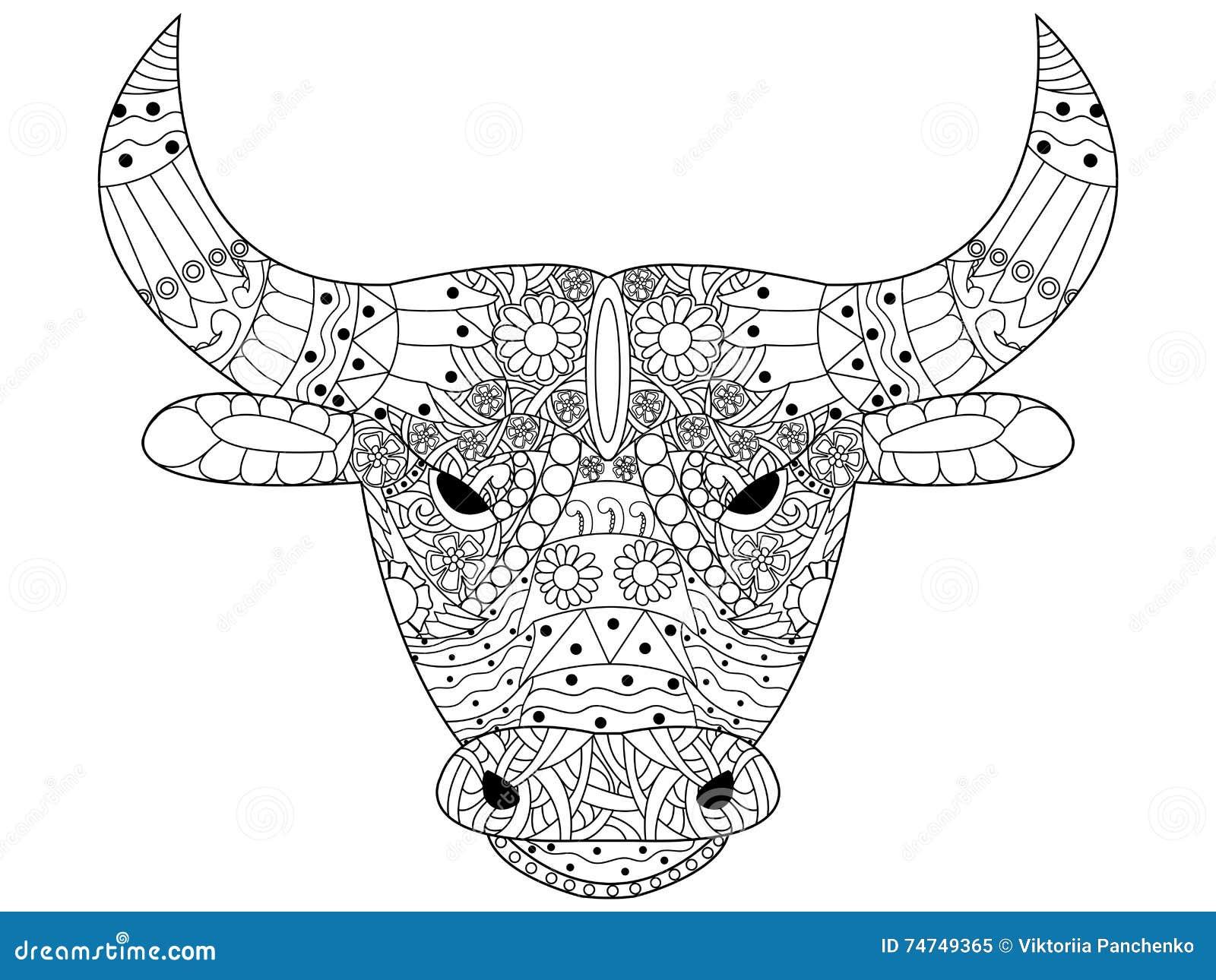 Vector principal del colorante del toro para los adultos - Dessin de toro ...
