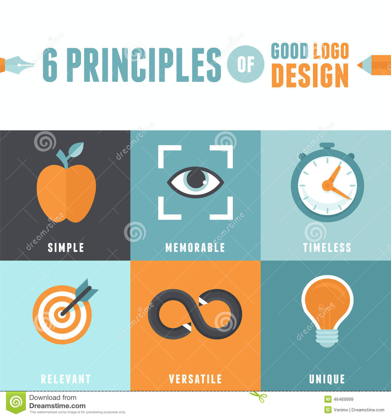 6 Principles Of Art : Vector principles of good logo design stock