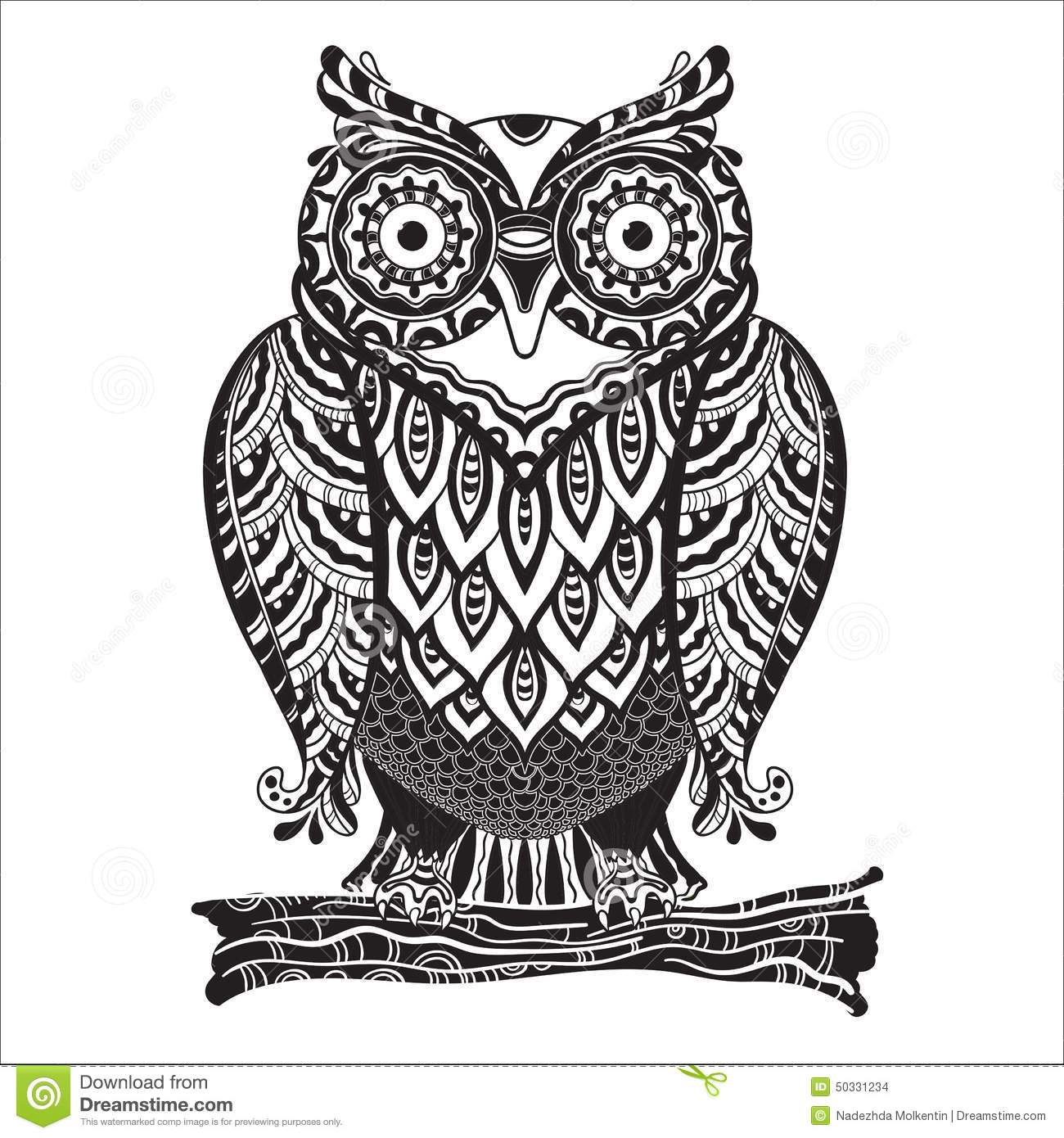Vector Print Beautiful Decorative Owl With A Lot Stock