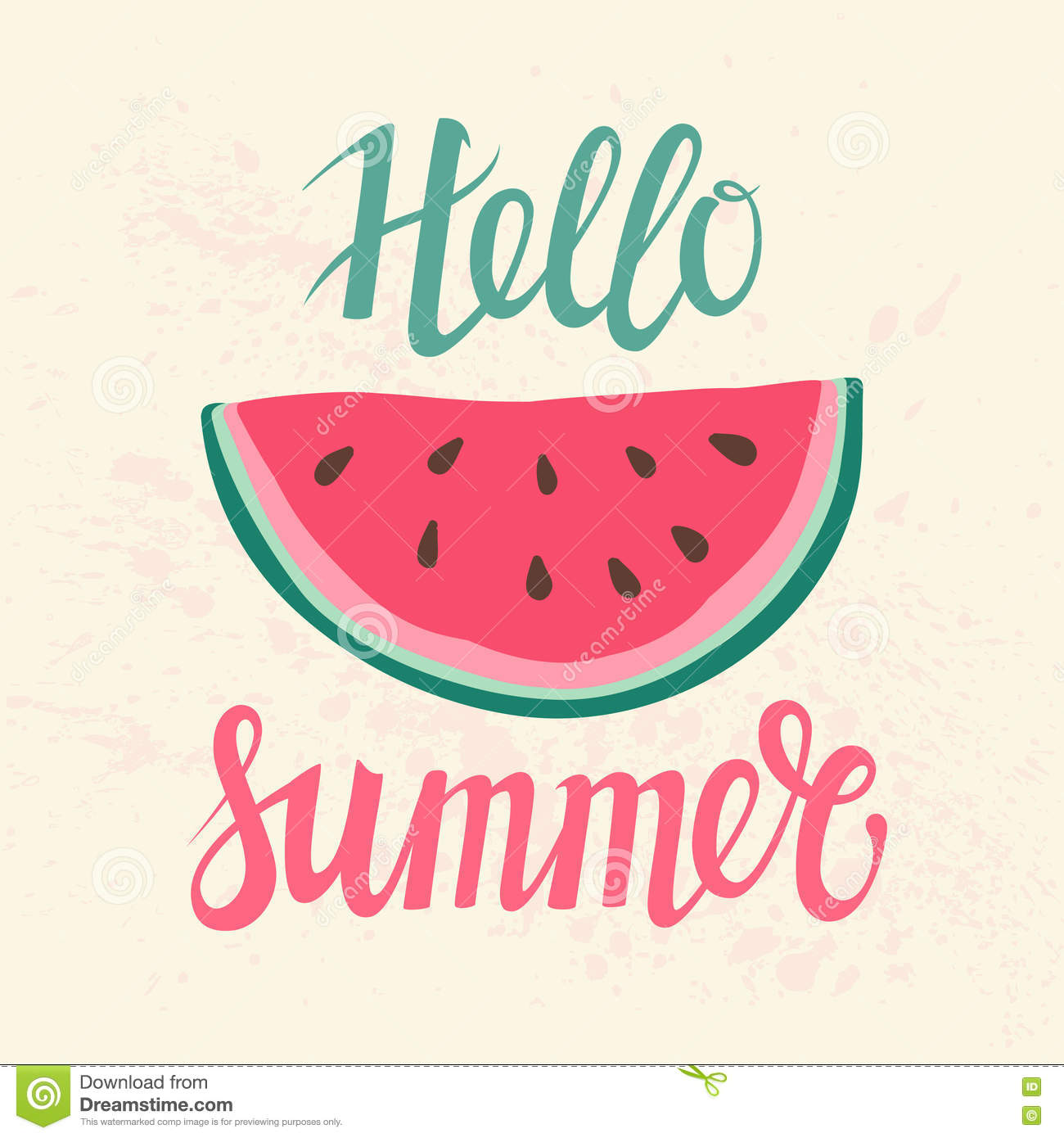 Vector Print With Watermelon And Lettering. Hello Summer.