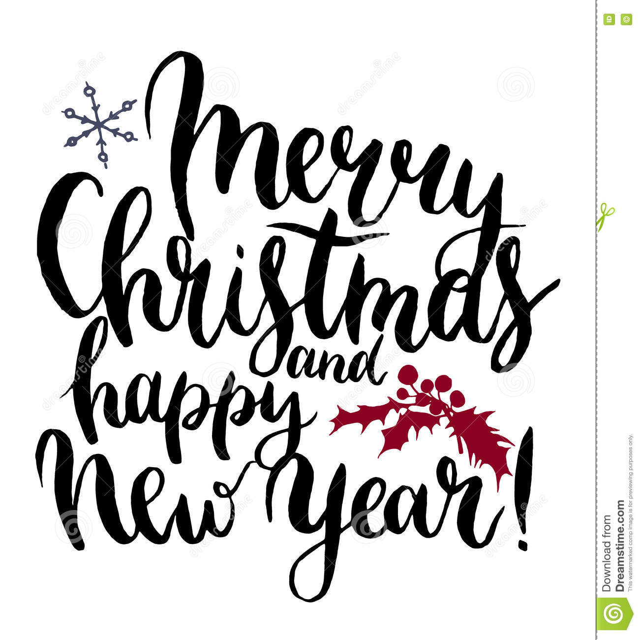 vector print witn merry christmas and happy new year lettering