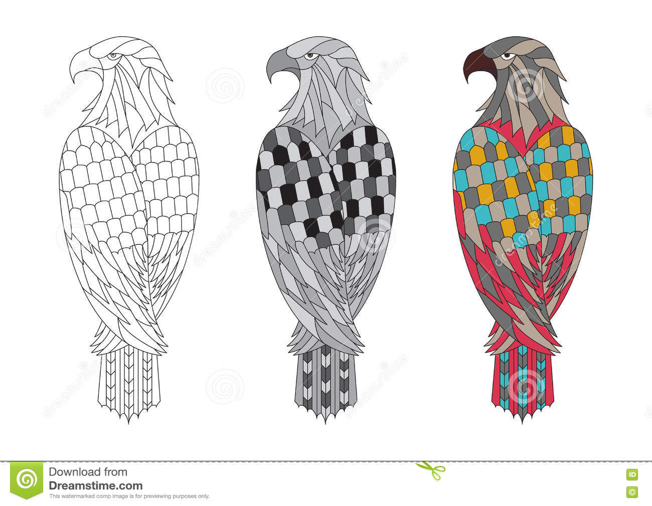 Vector Printable Coloring Page For Adults With The Eagle ...