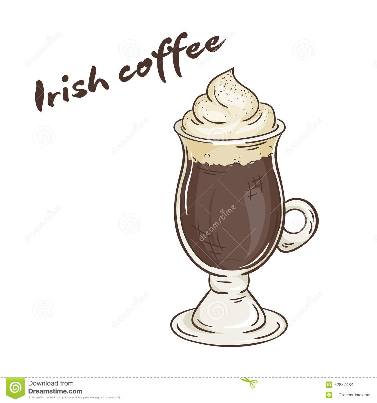 Vector Printable Illustration Of Isolated Cup Of Irish ...