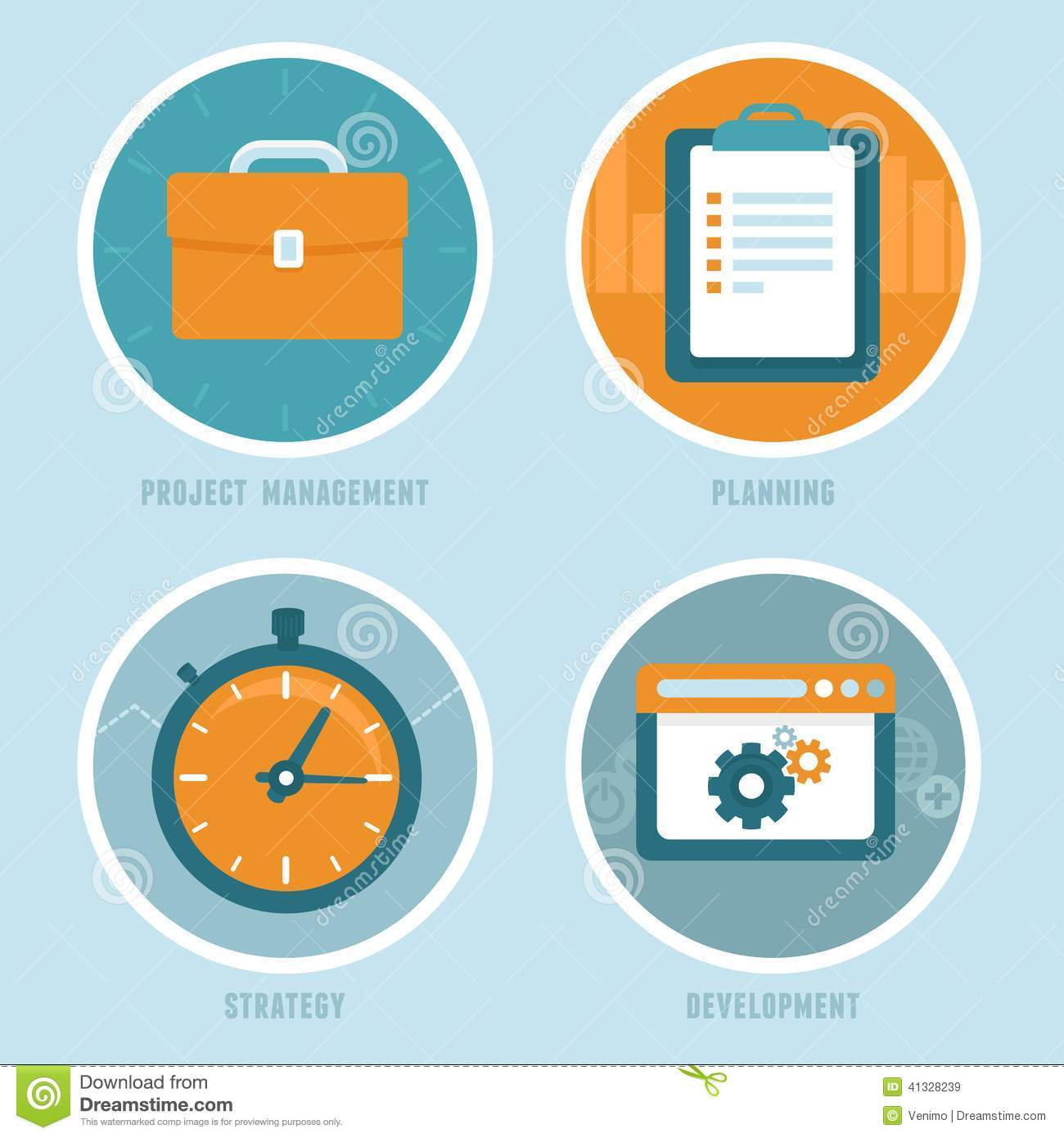 Vector Project Management Concepts In Flat Style Stock ...  Vector Project ...