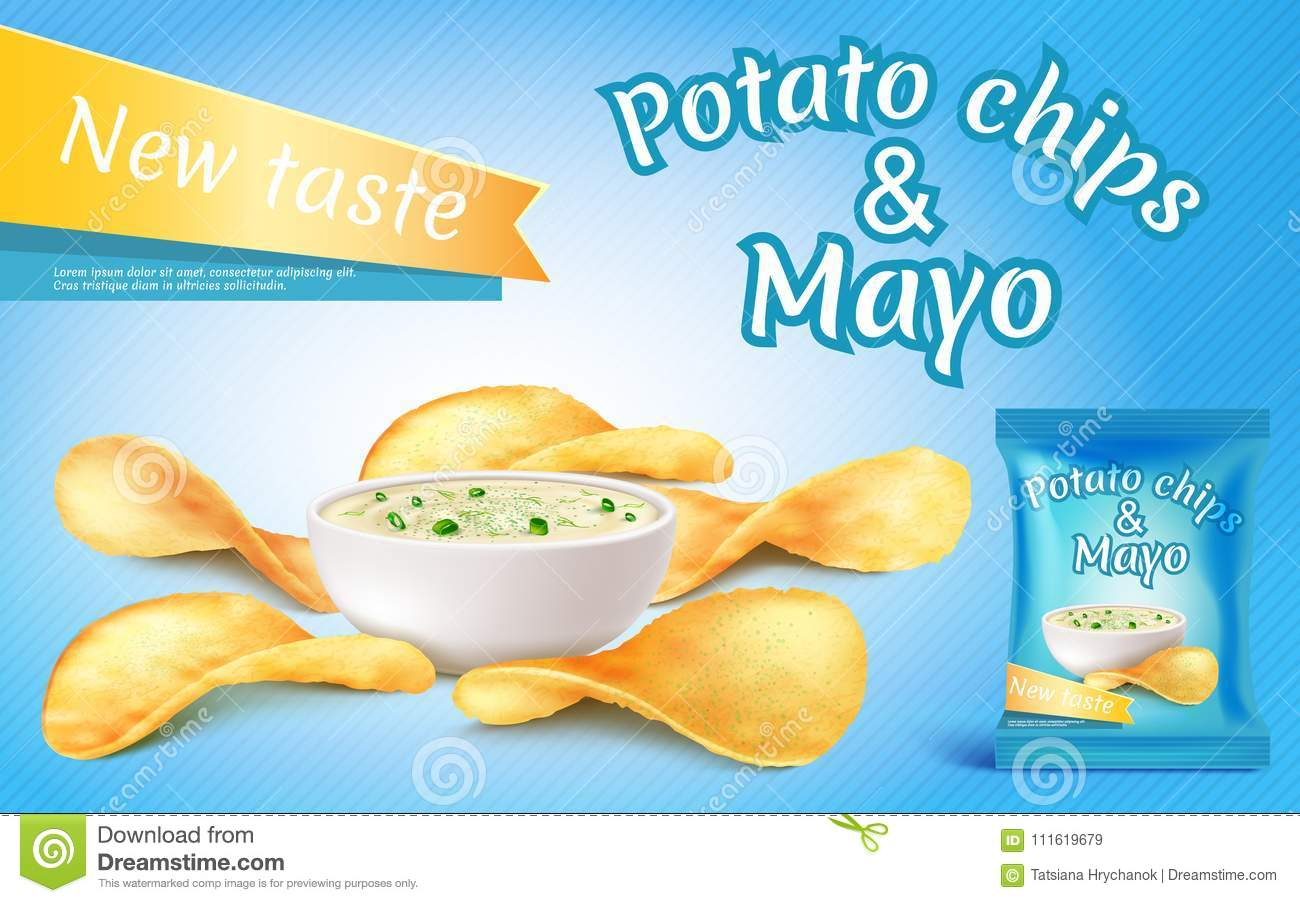 Vector potato chips and mayo in bowl.