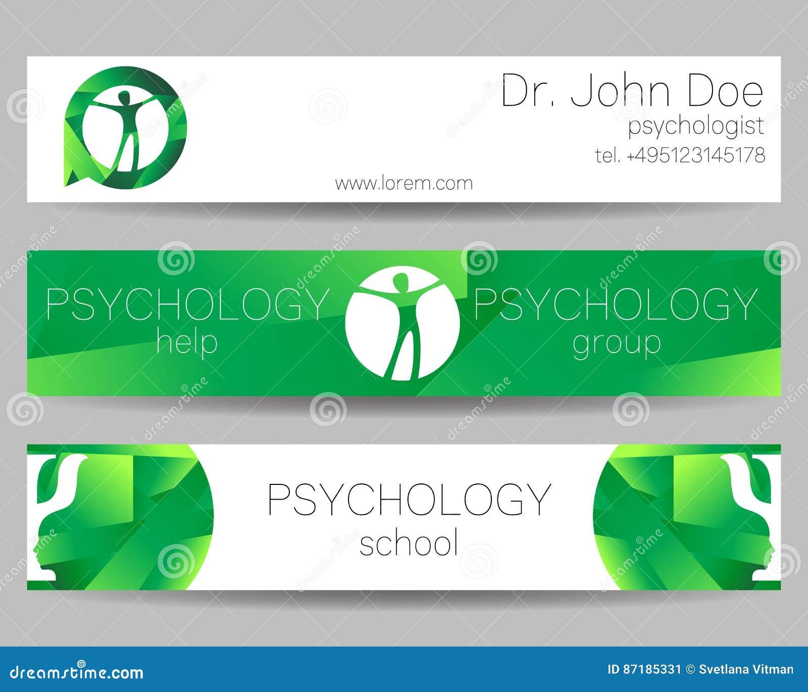 Vector Psychology Web Banner Design Background Or Header Templates ...