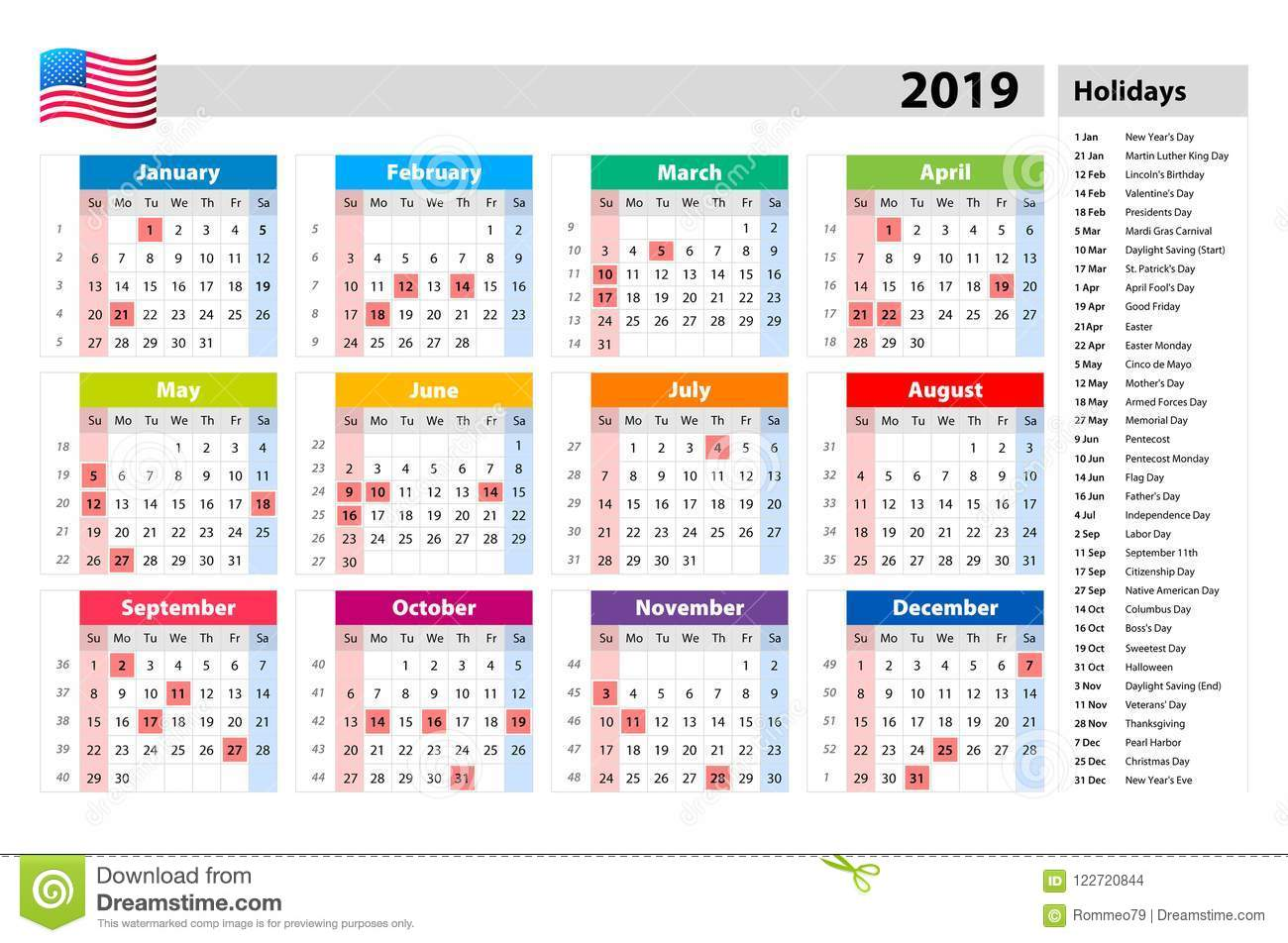 Vector Public Holidays For The Usa Calendar 2019 Colorful Set Week