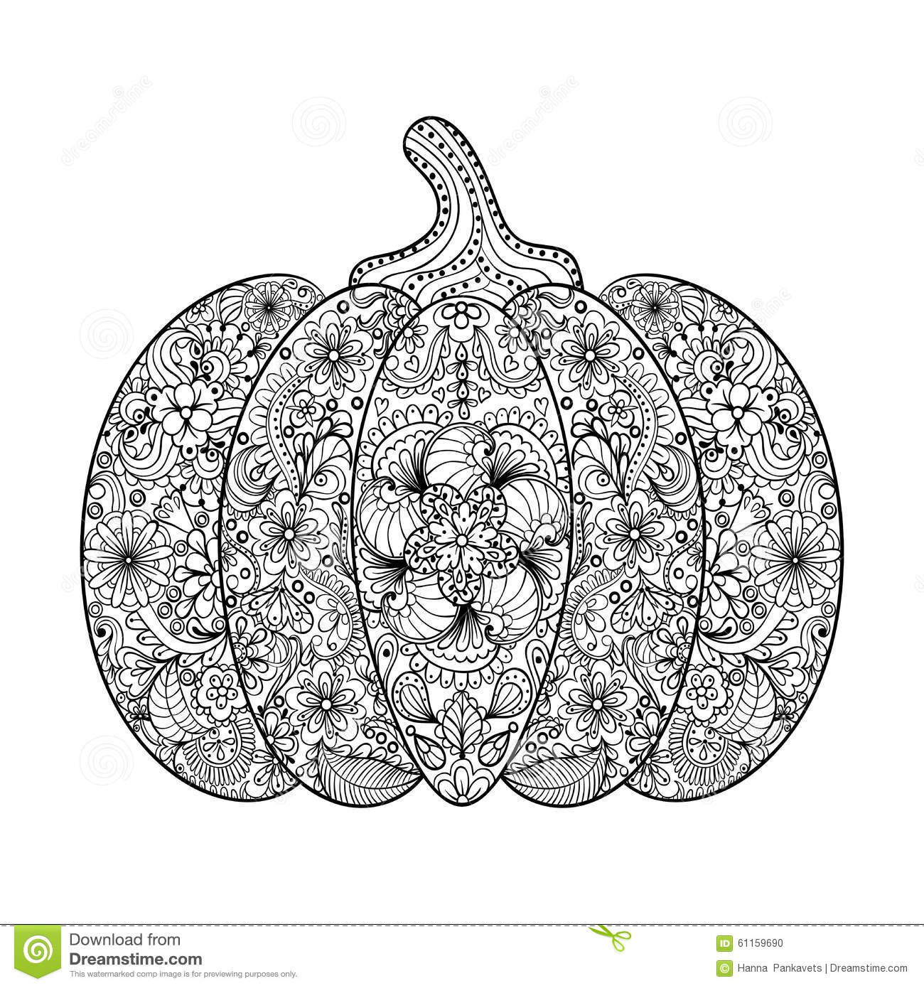 Vector Pumpkin Illustration Hand Drawn Vegetable In