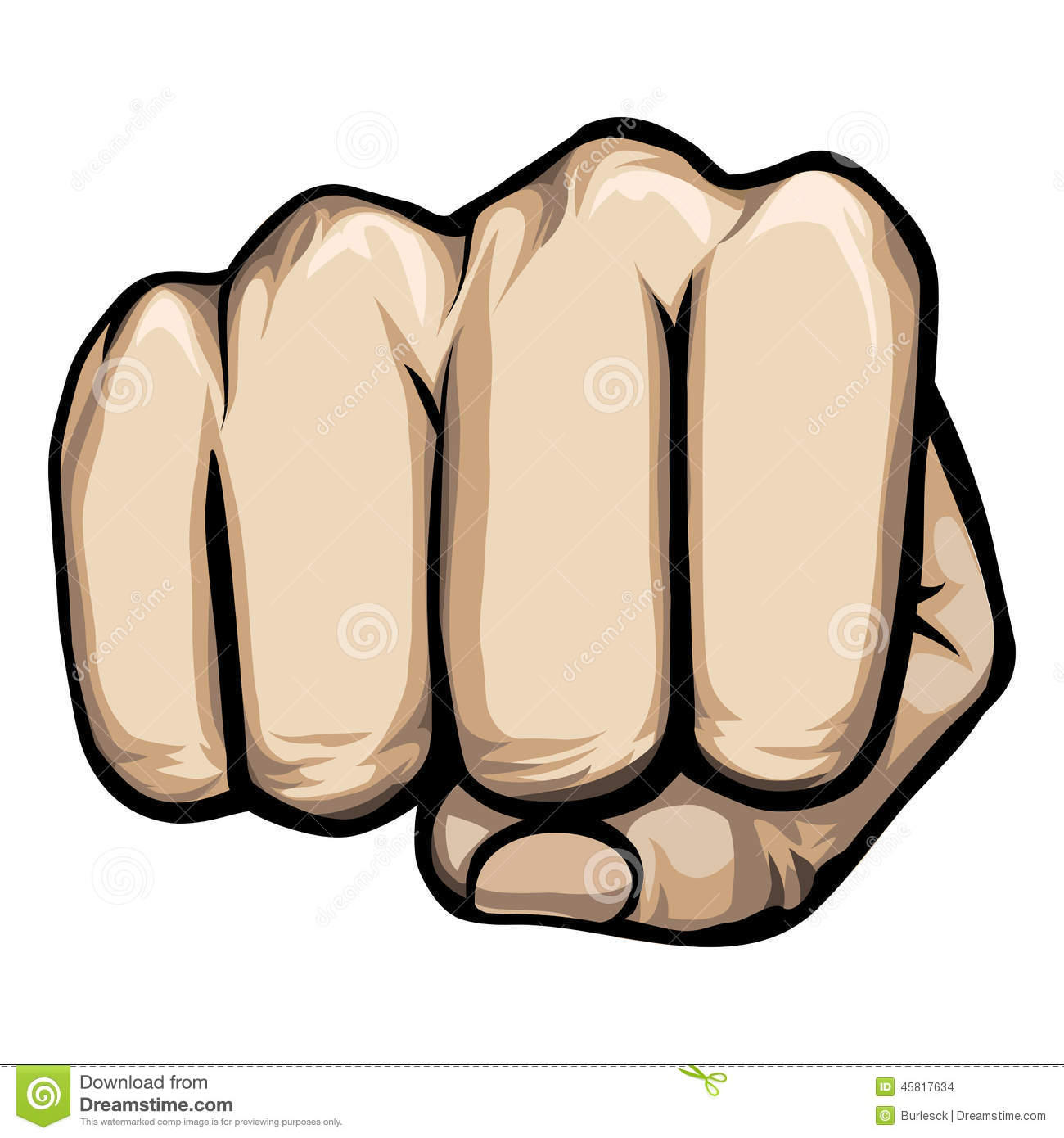 Colored vector of a punching hand with a clenched fist aimed directly ...