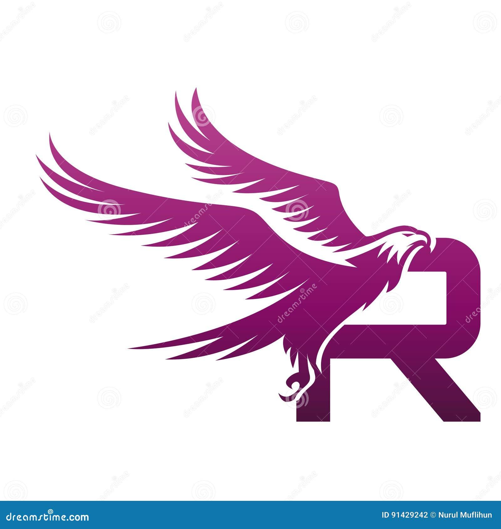 Vector purple brave hawk initial r logo stock illustration download comp altavistaventures Image collections