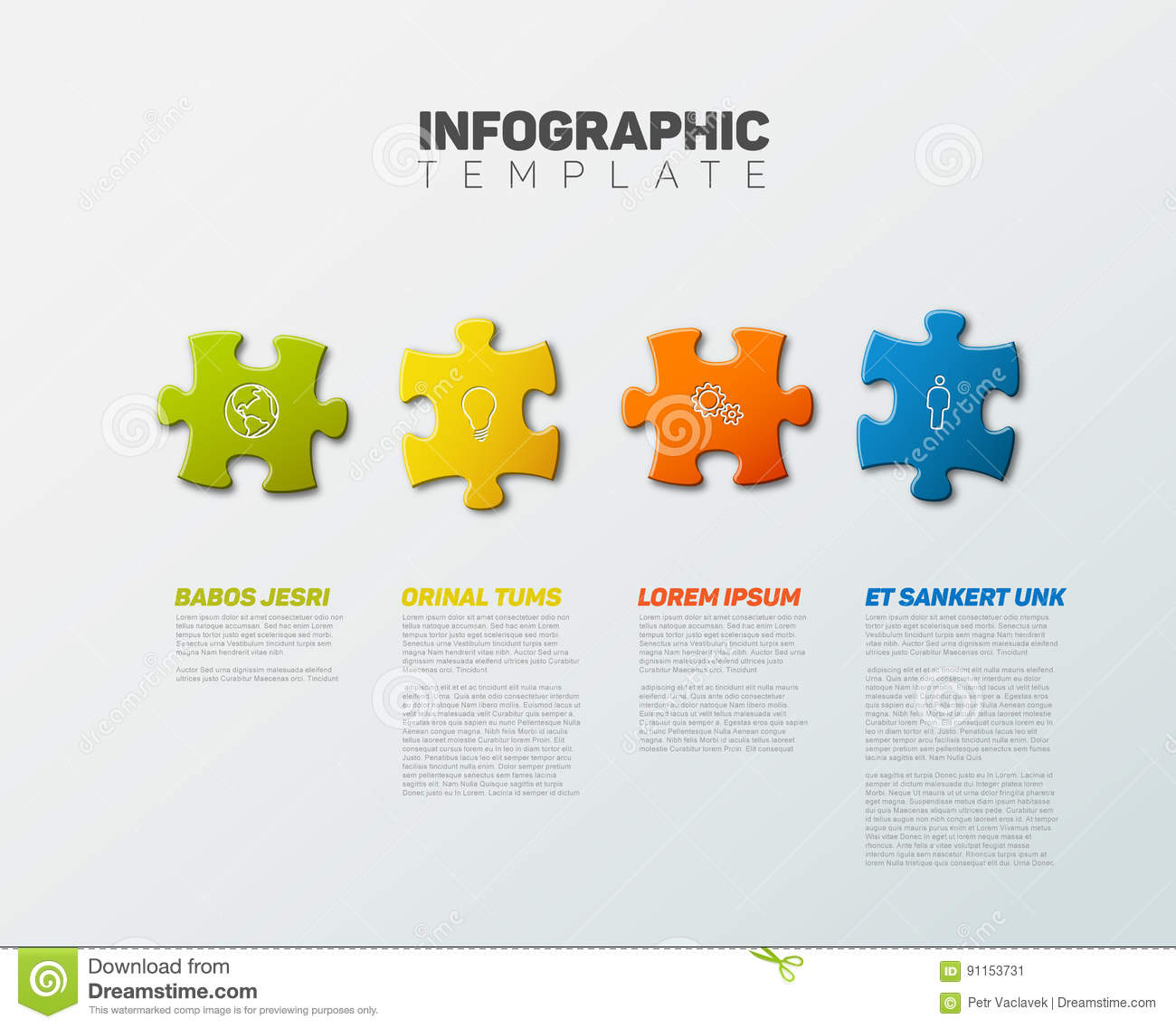 Vector Puzzle Infographic Report Template Stock Vector