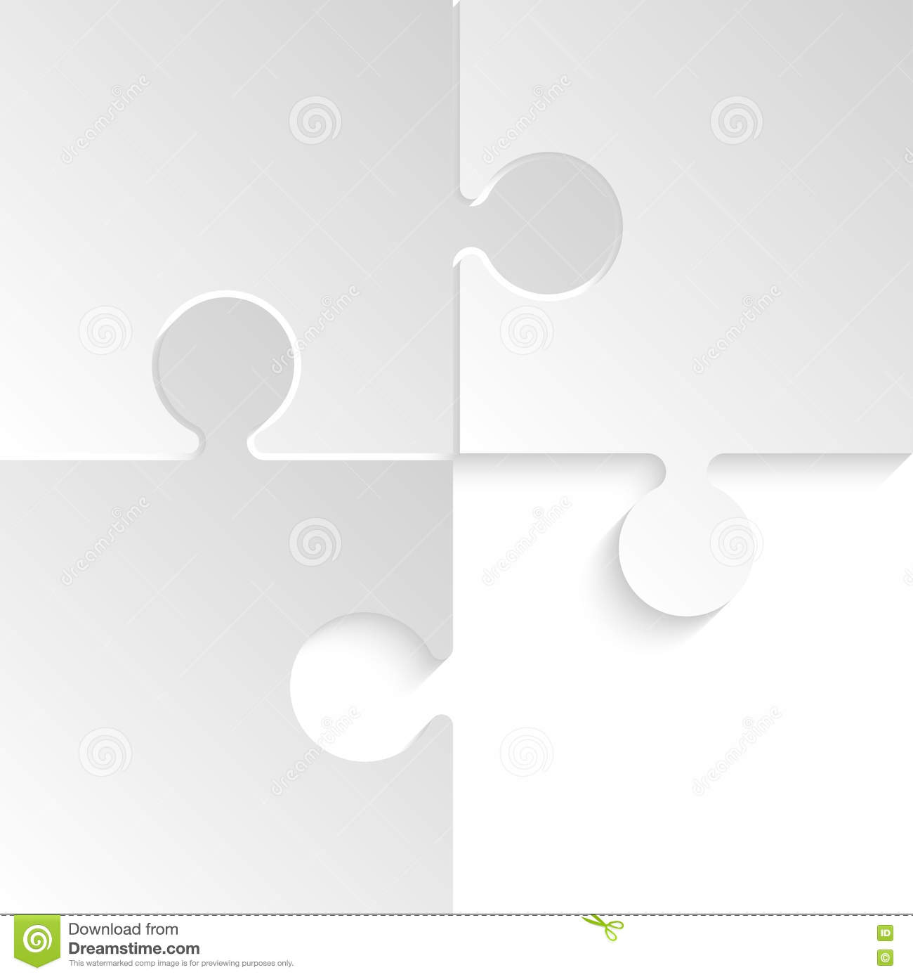 Vector 3 Puzzles Grey Pieces Jigsaw Background Stock Vector