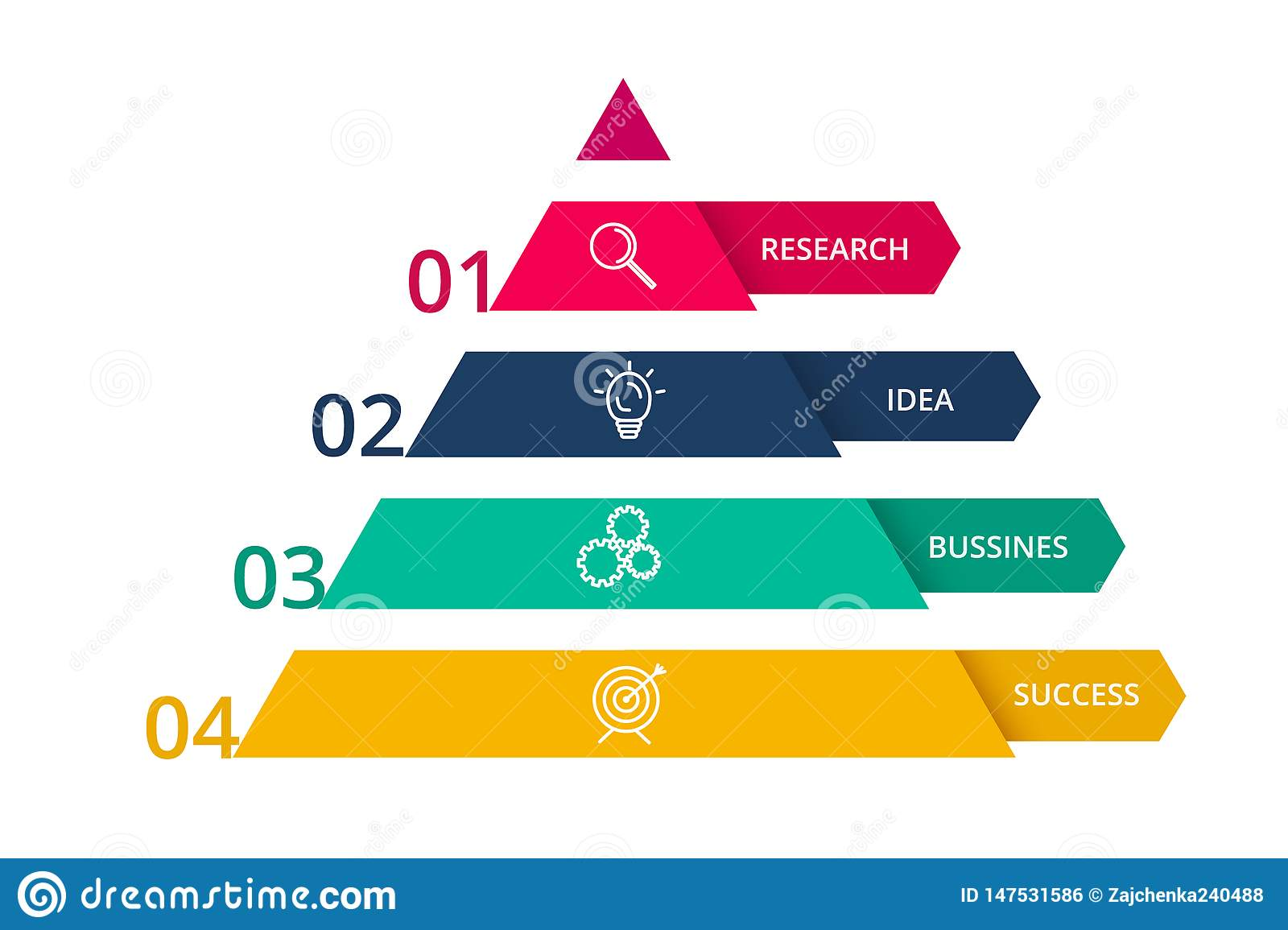 Vector pyramid up arrows infographic, diagram chart, triangle graph presentation. Business timeline concept with 4 parts