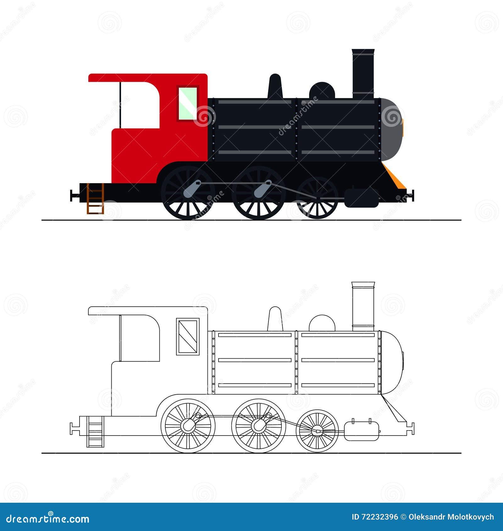Vector Que Colorea Una Locomotora De Vapor Vieja Ilustración del ...