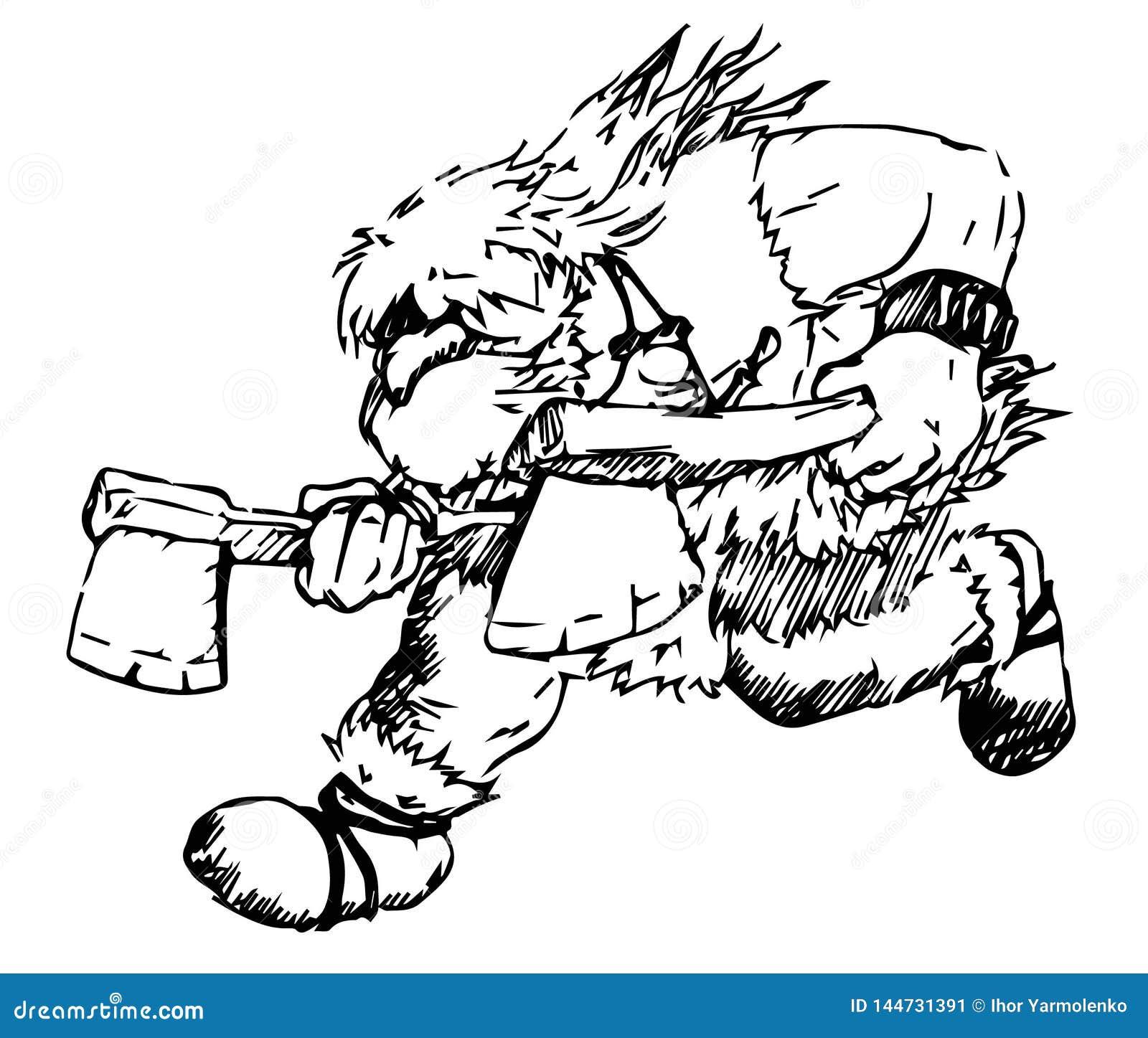 Vector que funciona con al bárbaro barbudo con dos hachas