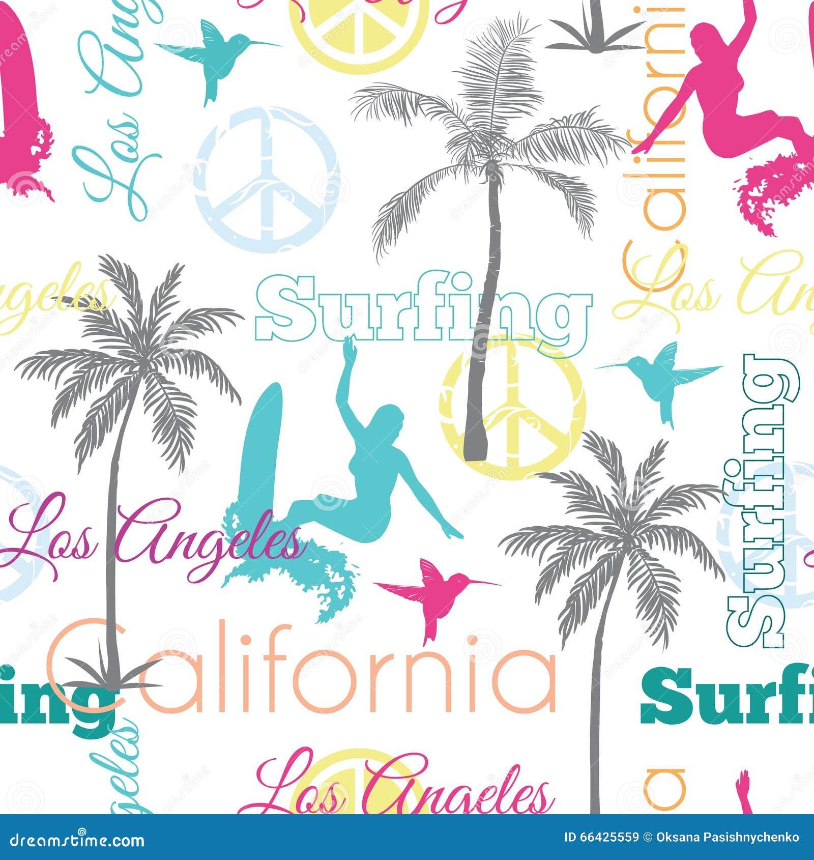 Vector Que Practica Surf Diseño Inconsútil Colorido De La Superficie ...