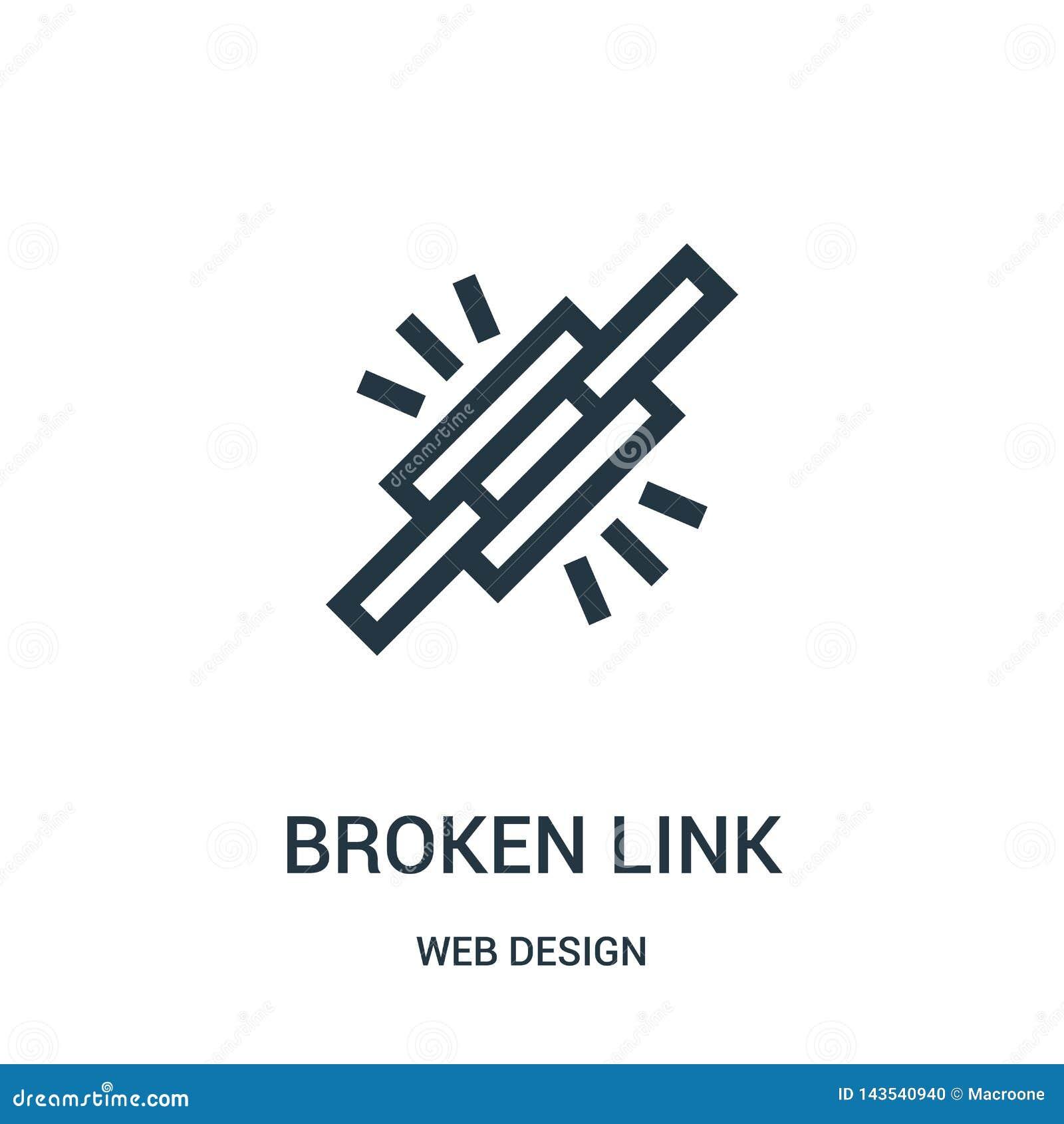 Vector quebrado del icono del vínculo de la colección del diseño web Línea fina ejemplo quebrado del vector del icono del esquema