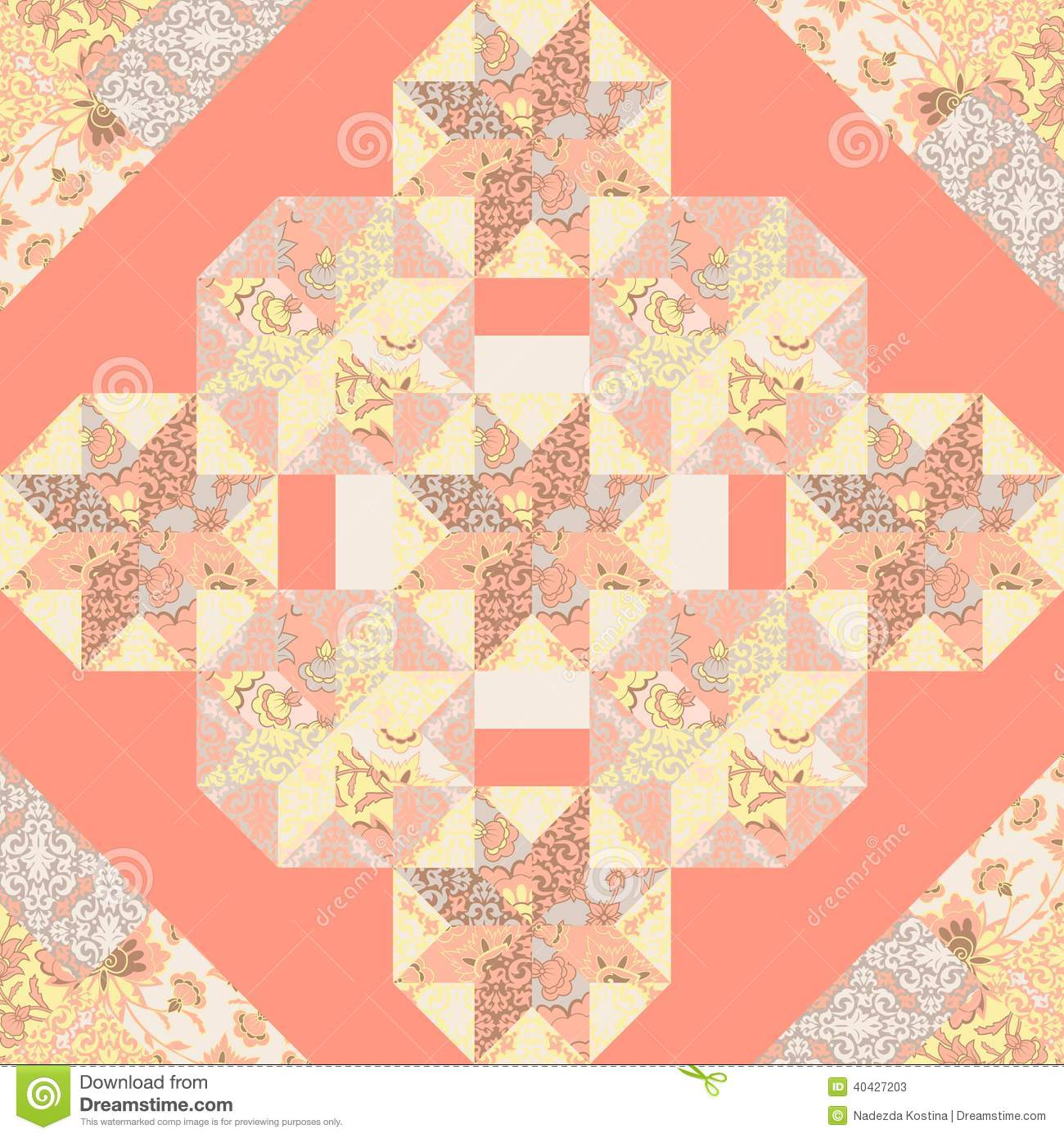 Vector Quilt Abstract Seamless Pattern Stock Vector