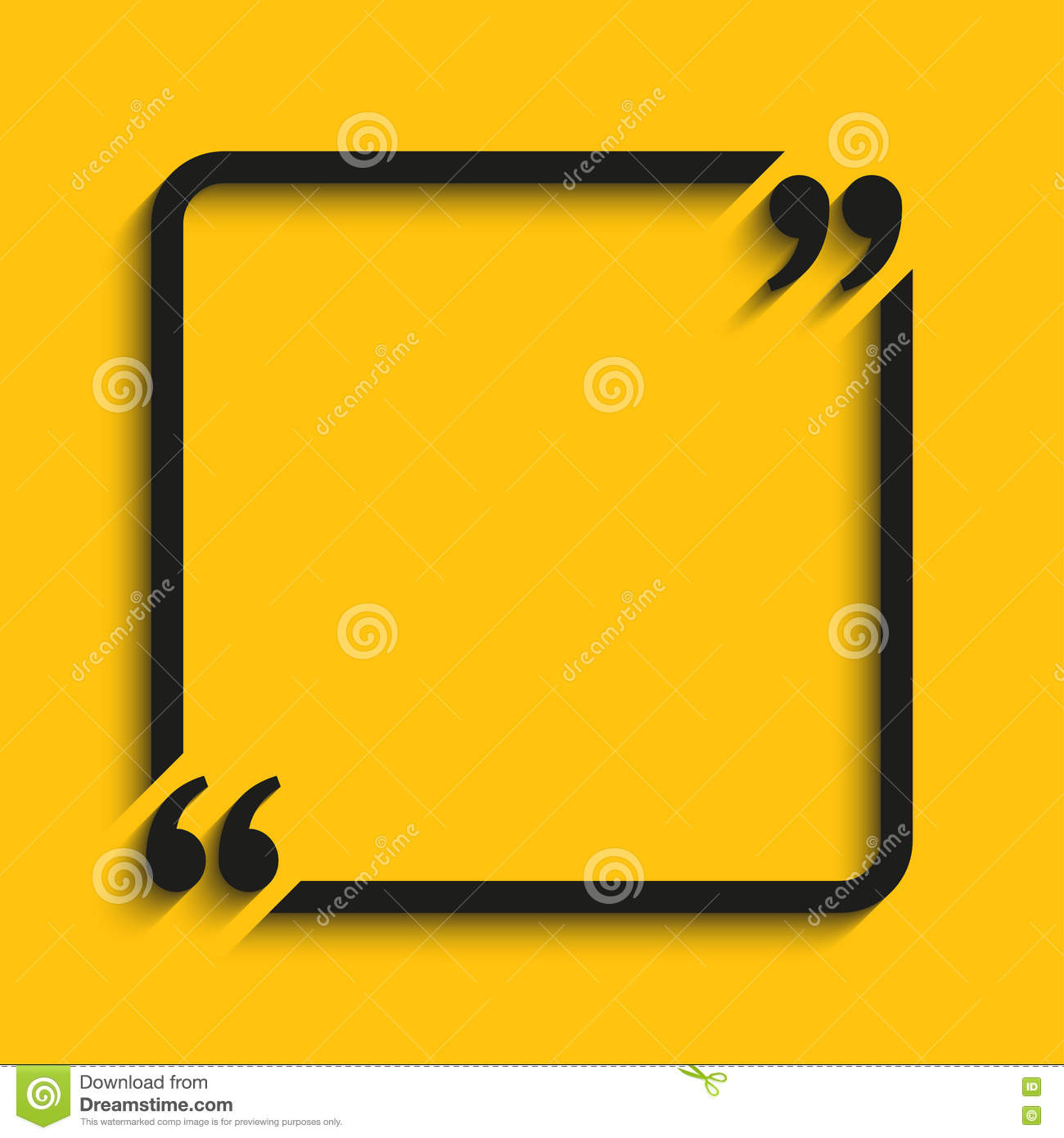 vector quote square blank template. bracket. stock vector