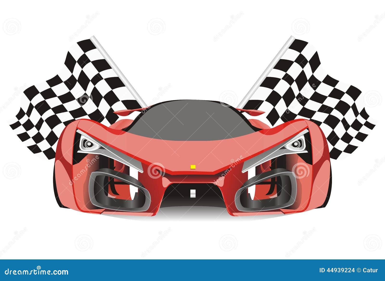 Vector Of Racing Flags Behind Ferrari F80 Car