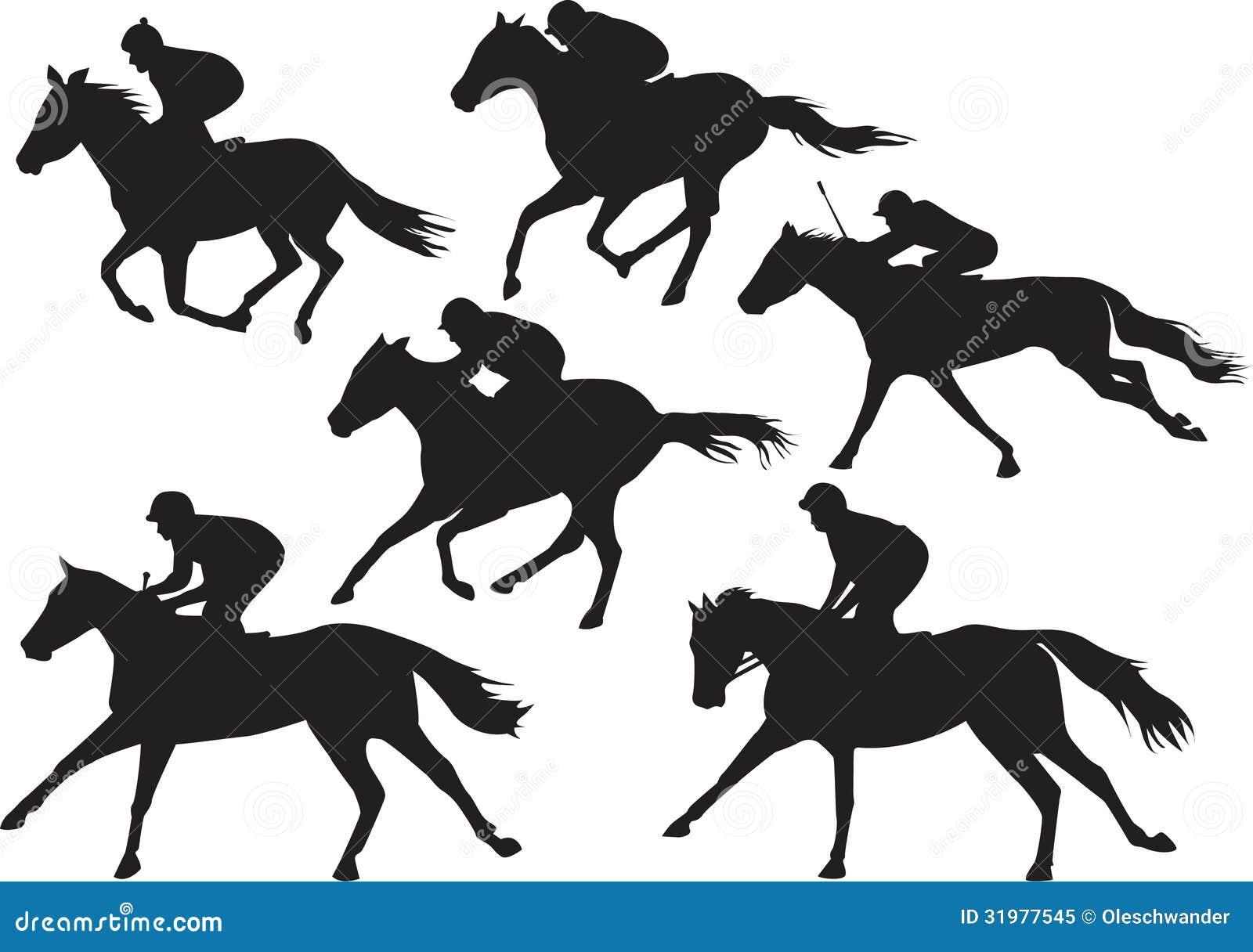 Vector Of Racing Horses With Jockeys