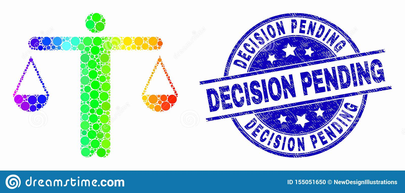 Vector Rainbow Colored Dotted Judge Icon and Grunge Decision Pending Watermark