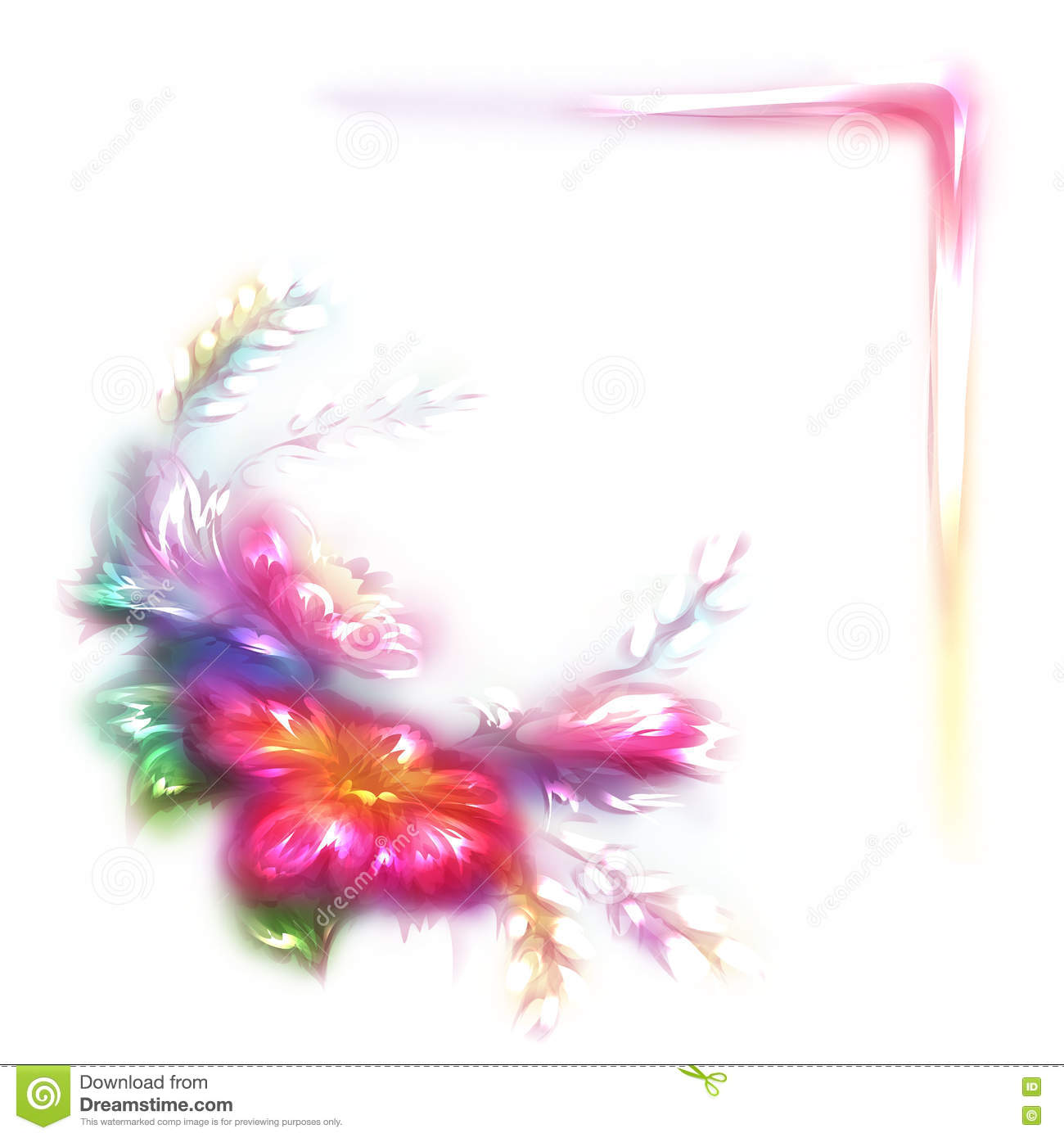 Vector Rainbow Frame With Flower In Corner On White Background Stock