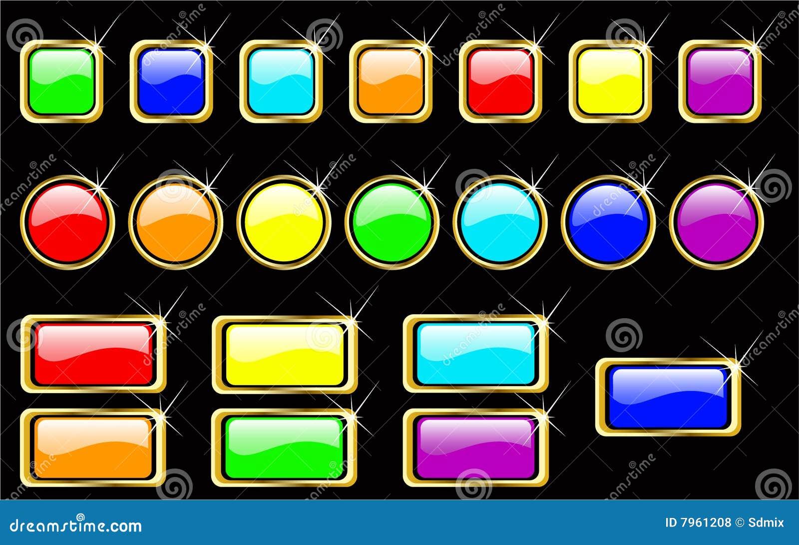 Vector rainbow glossy buttons set