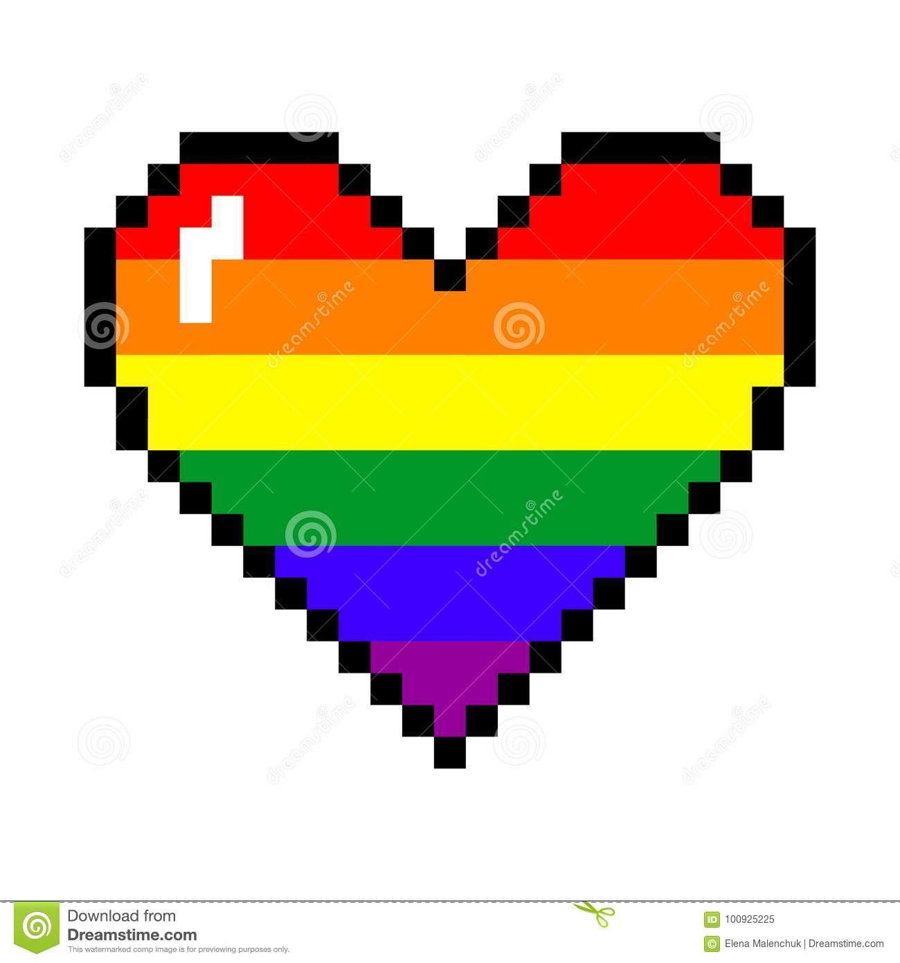 Vector Rainbow Pixel Heart Stock Vector Illustration Of