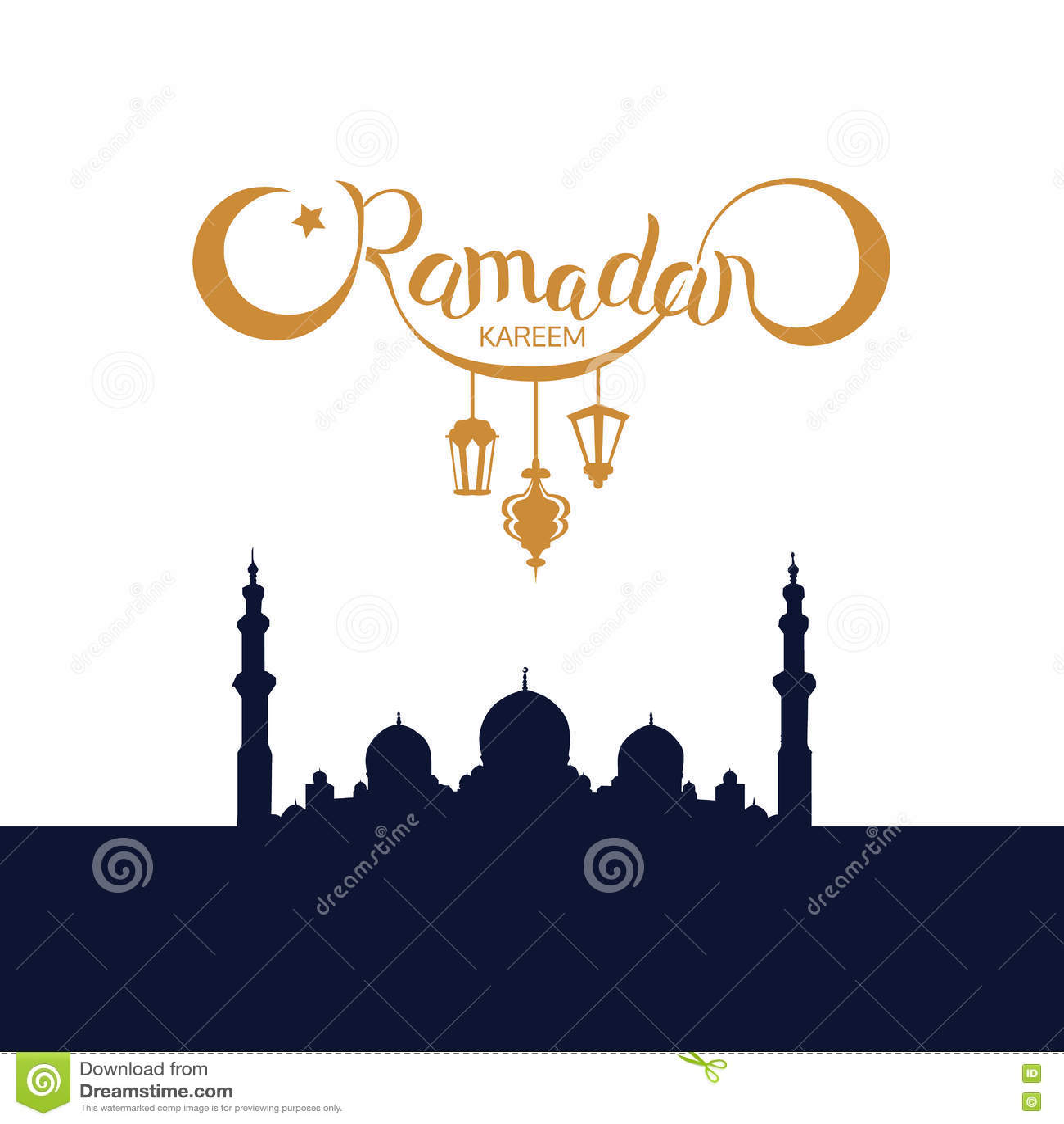 Mosque background for ramadan kareem stock photography image - Vector Ramadan Kareem Lettering On Dark Mosque Silhouette Background Stock Vector