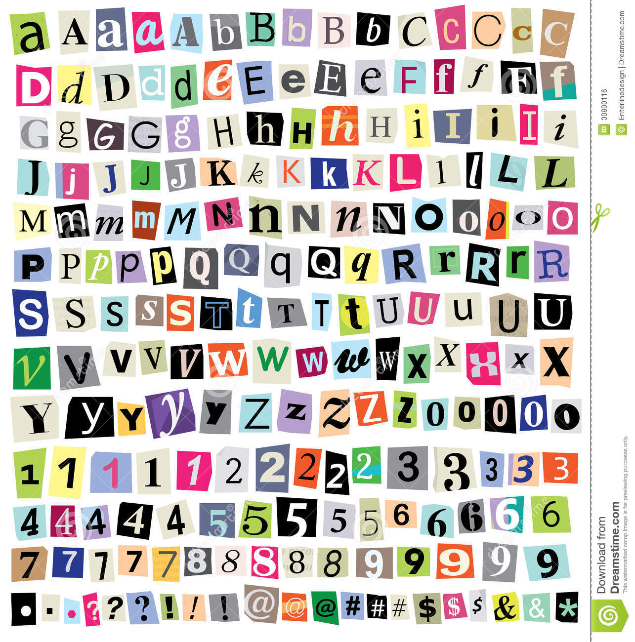 mixed case letter vector ransom note cut paper letters numbers symbols 23671 | vector ransom note cut paper letters numbers symbols over newspaper magazine mixed upper case lower case multiple 30800116